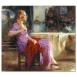 "Pino (1939-2010), ""Longing For"" Artist Embellished Limited Edition on Canvas (36"