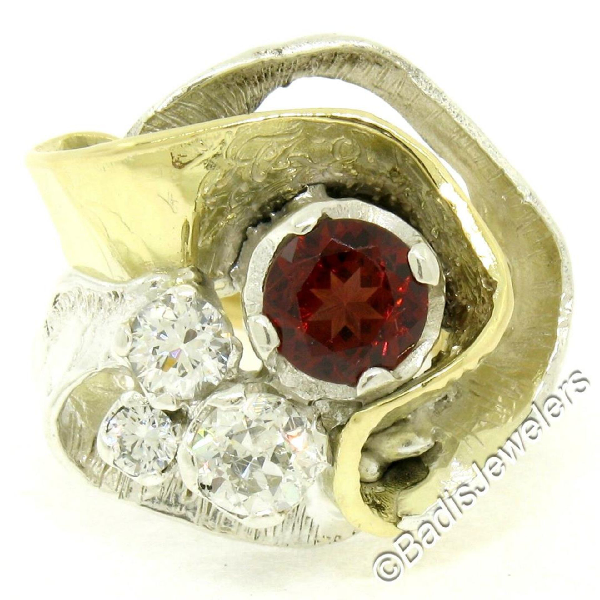 18kt Yellow Gold and Sterling Silver 2.73ctw Garnet and Diamond Cocktail Ring - Image 3 of 9