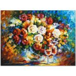 "Leonid Afremov (1955-2019) ""Roses and Wine"" Limited Edition Giclee on Canvas, Nu"