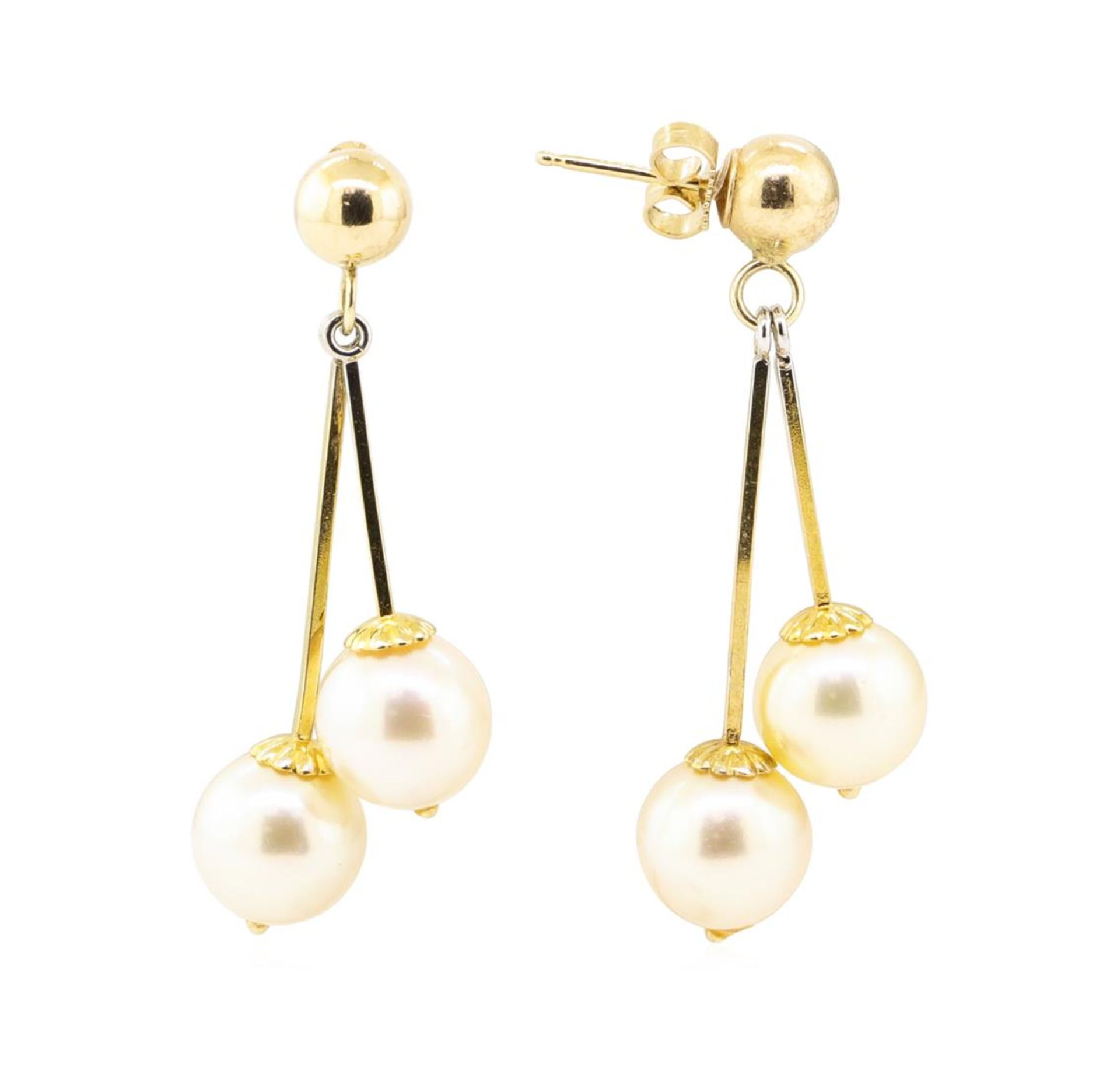 Pearl Double Dangle Earrings - 14KT Yellow Gold - Image 2 of 2