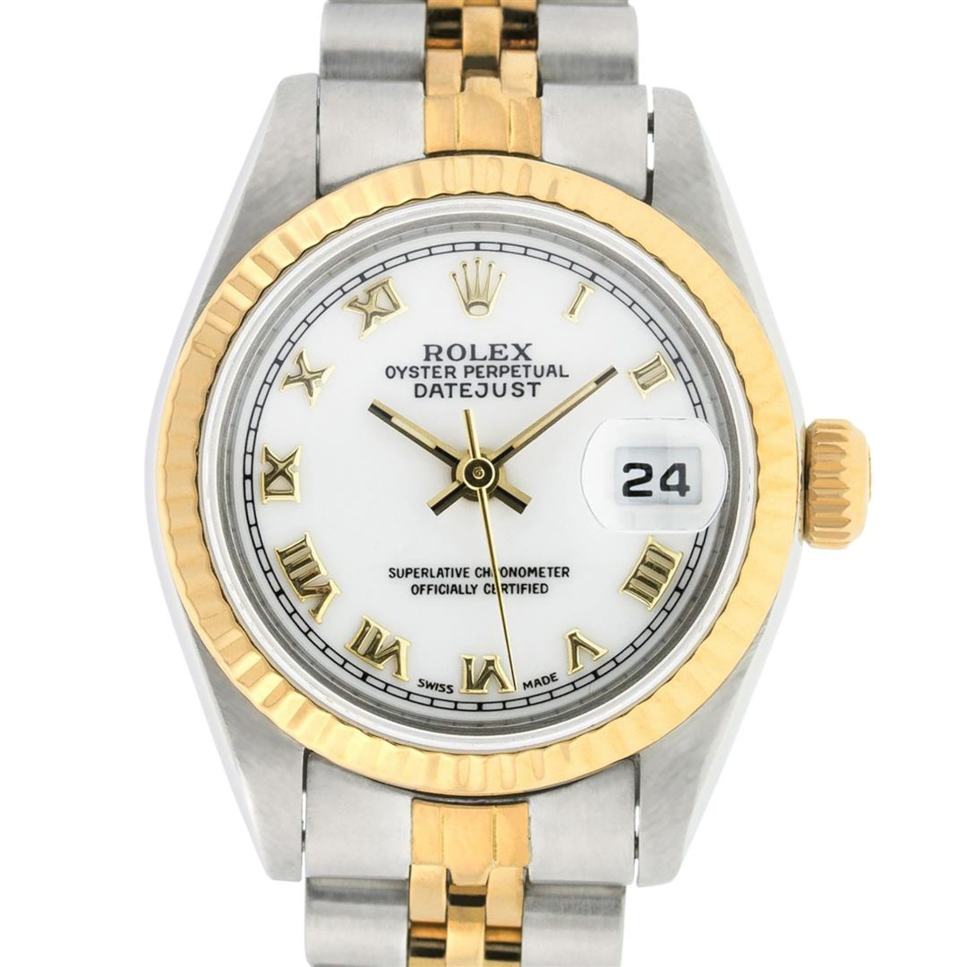 Rolex Ladies 2 Tone White Roman 26MM Datejust Wristwatch