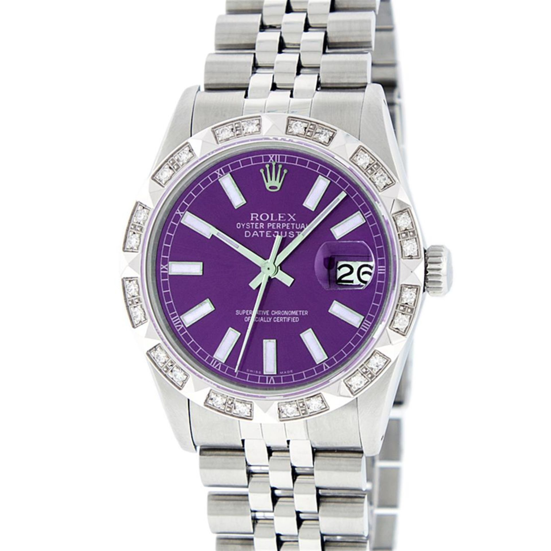 Rolex Mens Stainless Steel 36MM Purple Index Pyramid Diamond Datejust Wristwatch - Image 2 of 9