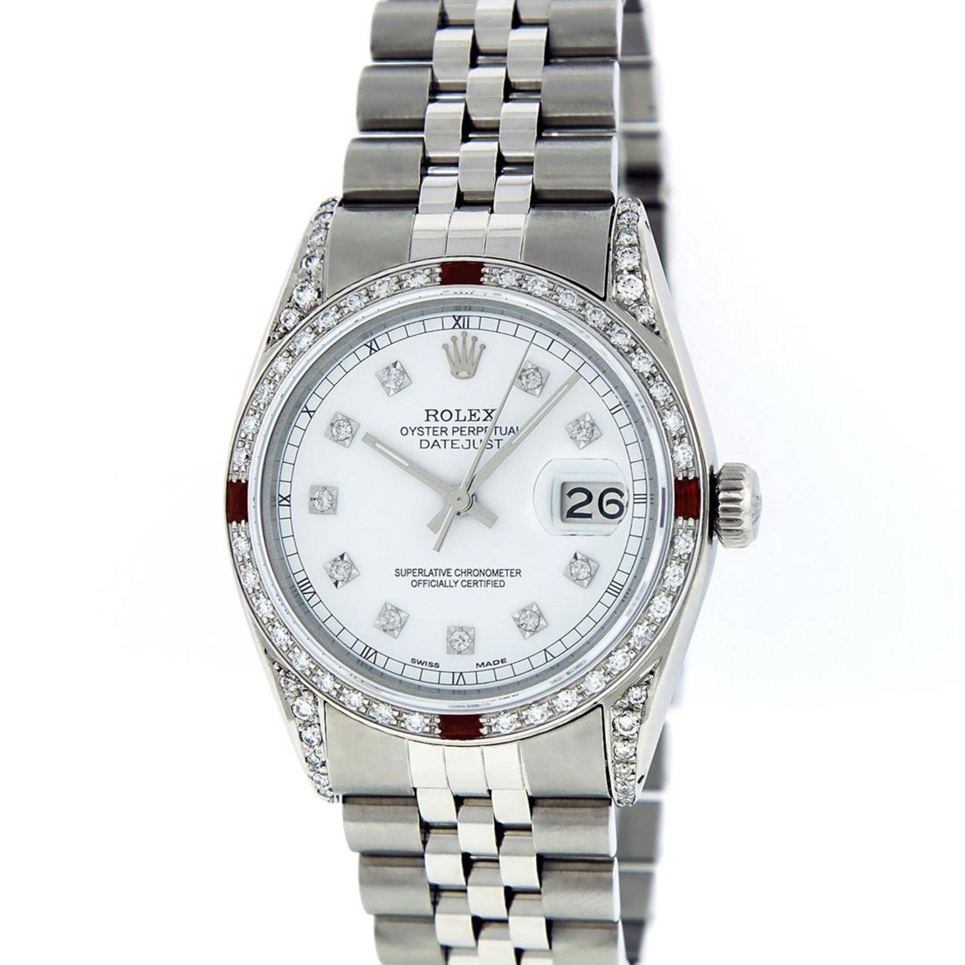 Rolex Mens Stainless Steel Diamond Lugs & Ruby Datejust Wristwatch - Image 2 of 8