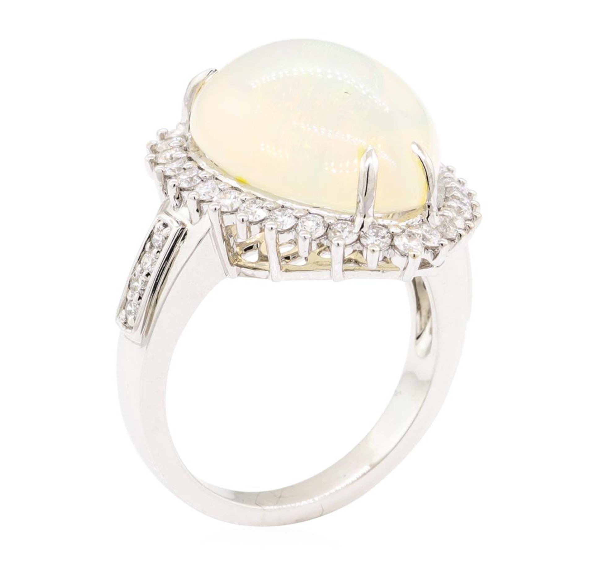 9.12 ctw Cabochon Pear Crystal Opal And Round Brilliant Cut Diamond Ring - 14KT - Image 4 of 5