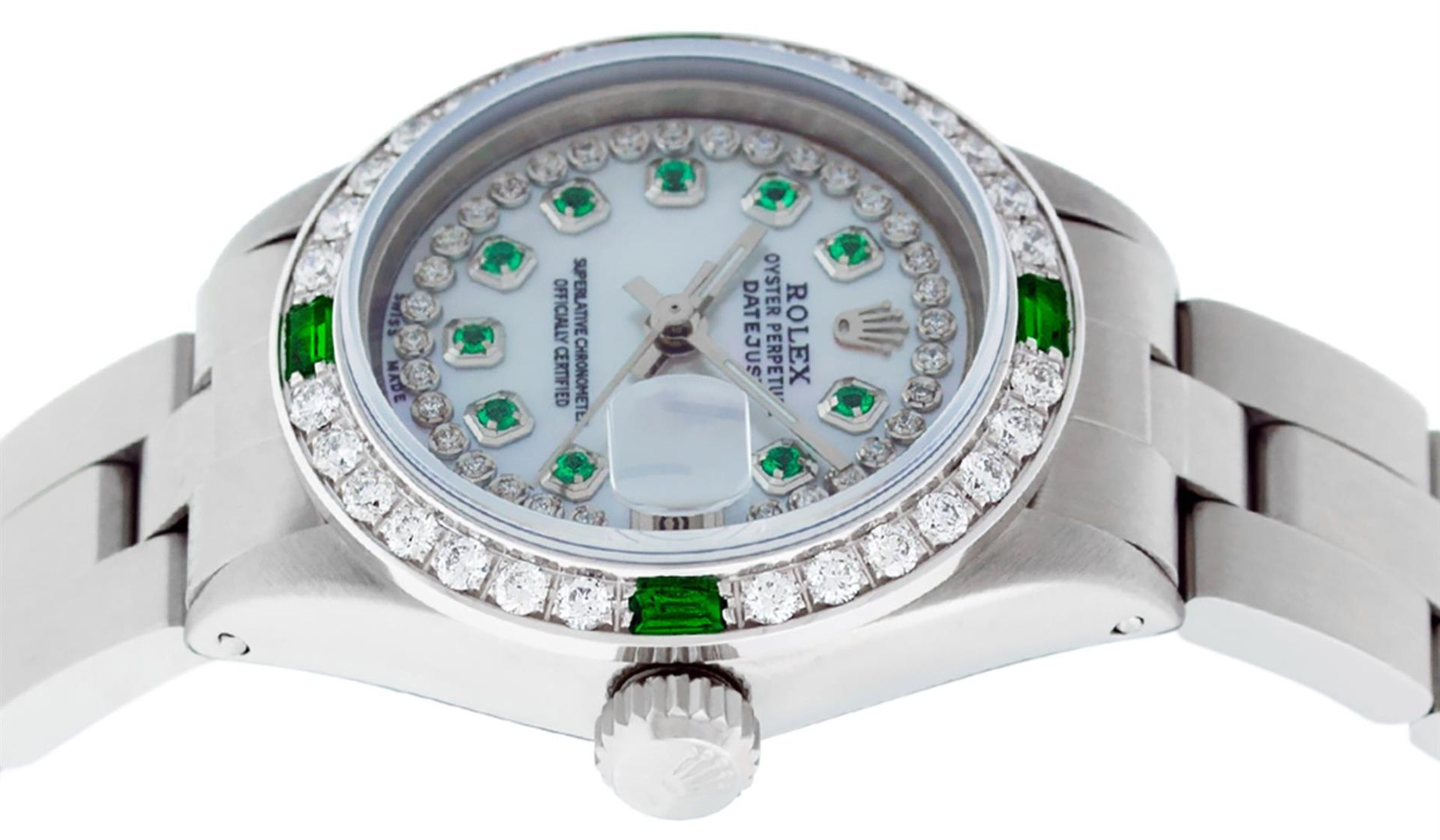 Rolex Ladies Stainless Steel MOP Emerald & Diamond Oyster Perpetaul Datejust Wri - Image 9 of 9