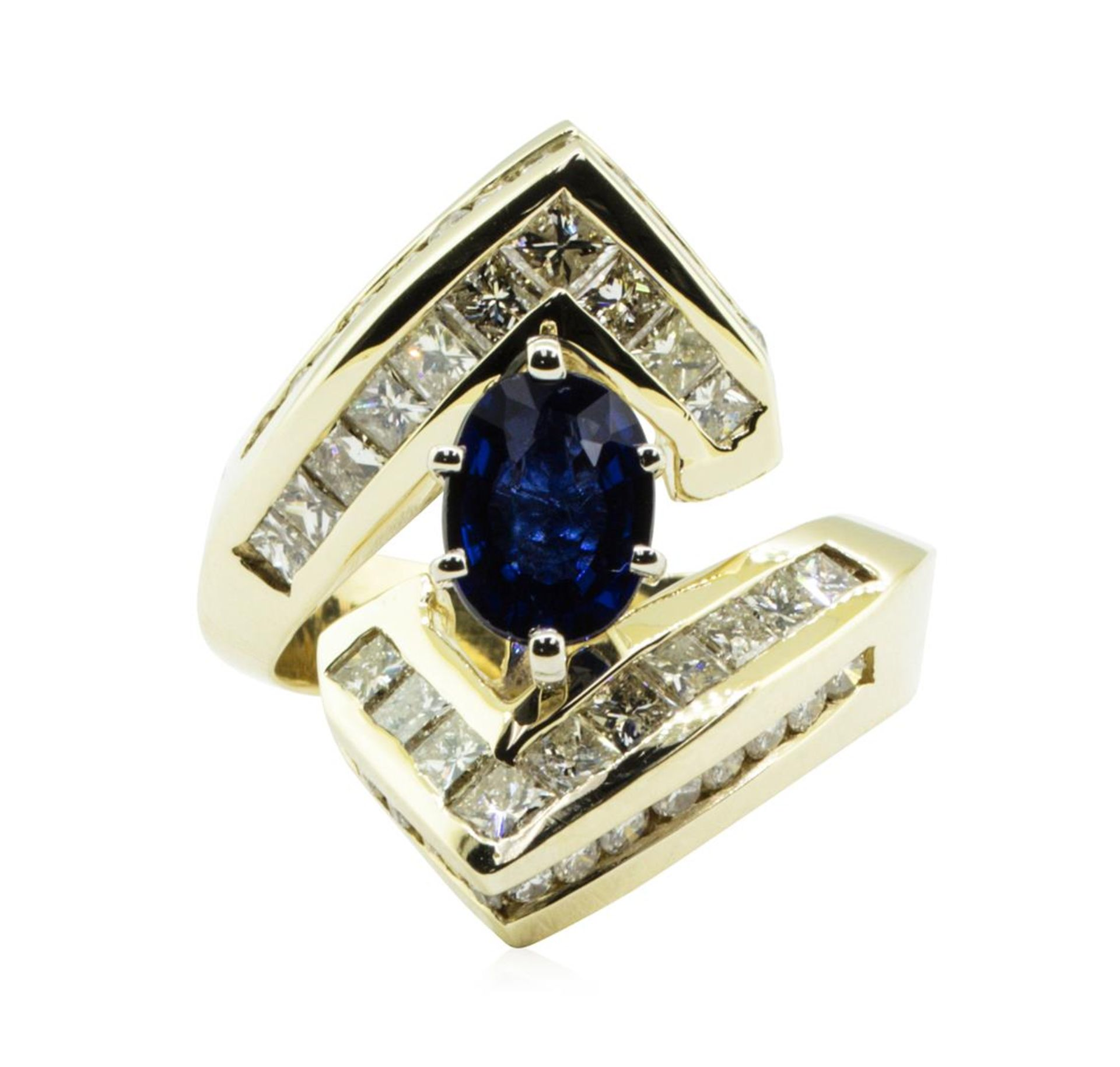3.16 ctw Oval Brilliant Blue Sapphire And Diamond Ring - 14KT Yellow Gold - Image 2 of 5