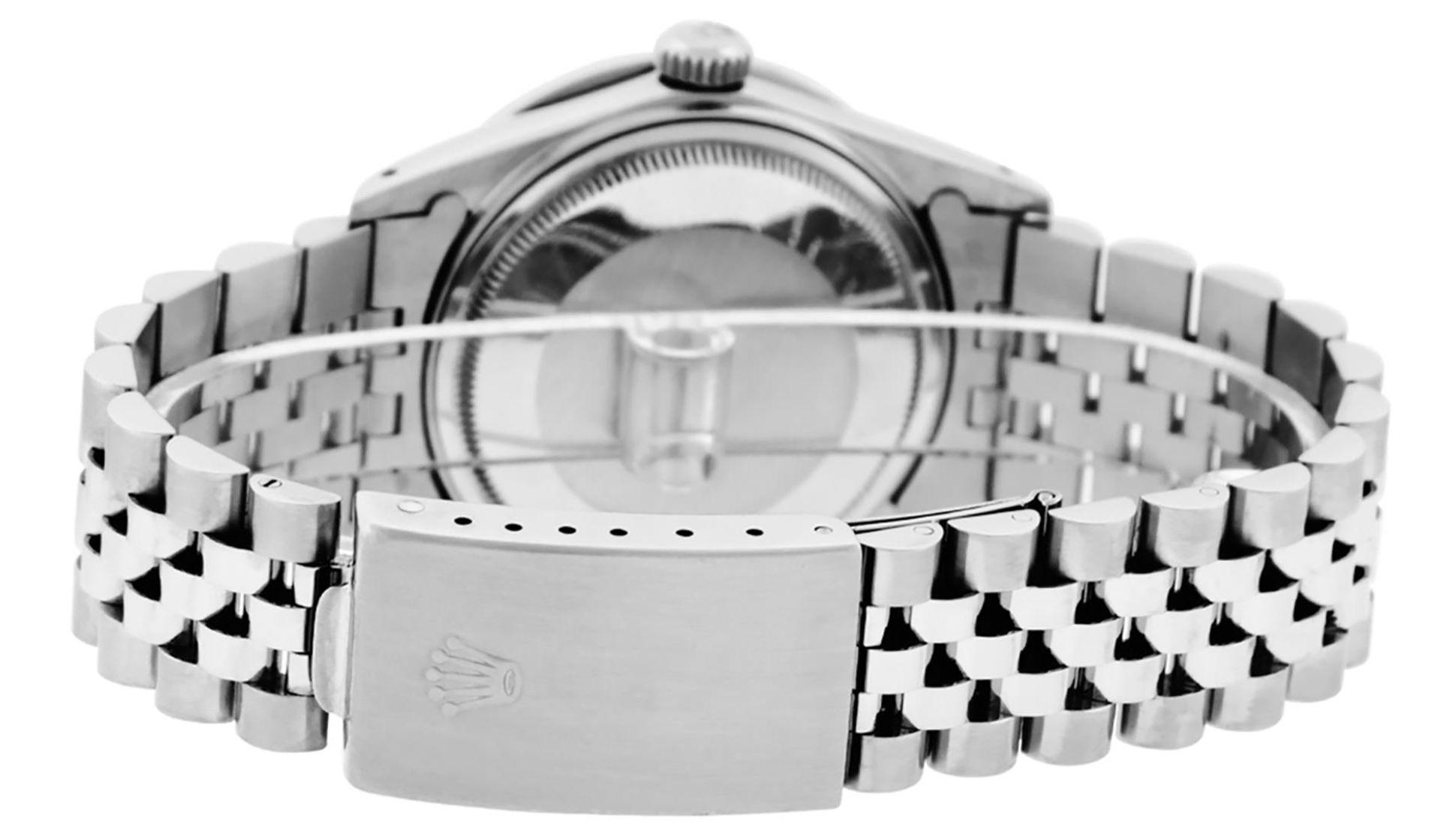 Rolex Mens SS Blue Vignette Diamond & Ruby Channel Set Diamond Datejust - Image 6 of 9