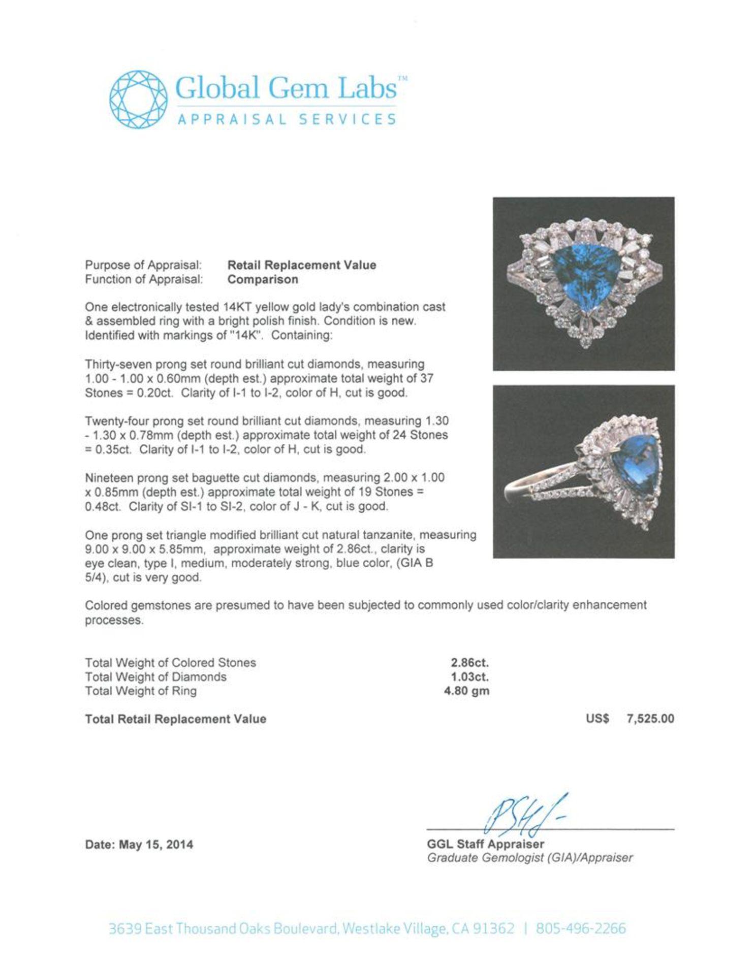 14KT Yellow Gold 2.86 ctw Tanzanite and Diamond Ring - Image 5 of 5