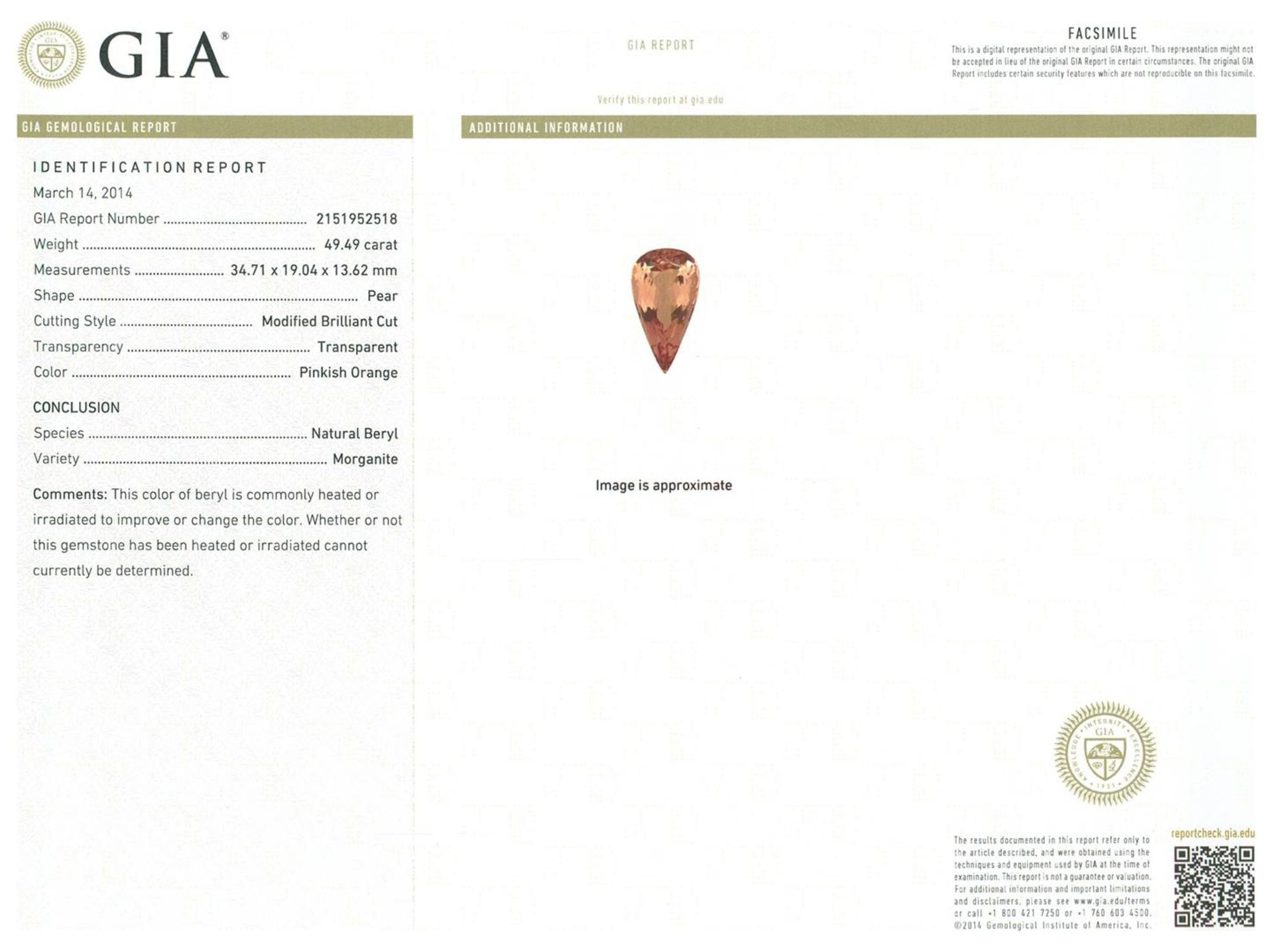 14KT Rose Gold GIA Certified 49.49ct Morganite and Diamond Pendant With Chain - Image 4 of 4