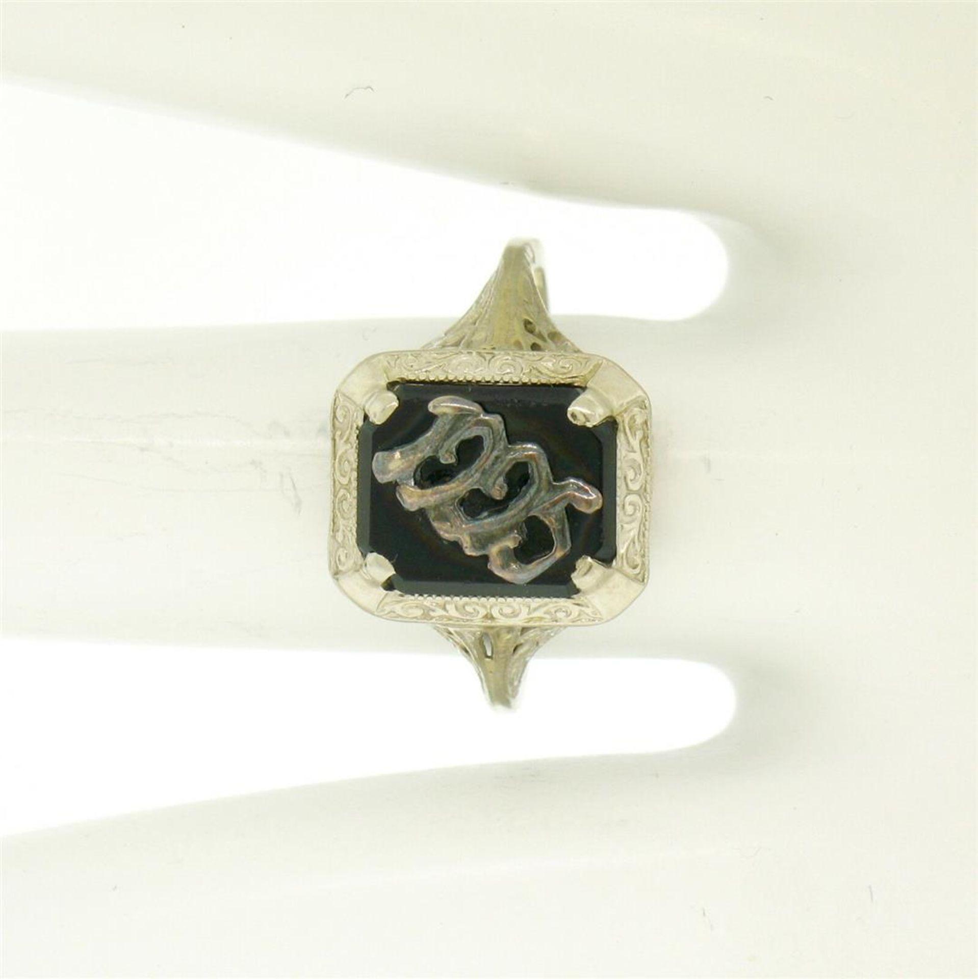 1925 14k White Gold Prong Set Black Onyx Filigree Dinner Ring - Image 8 of 8