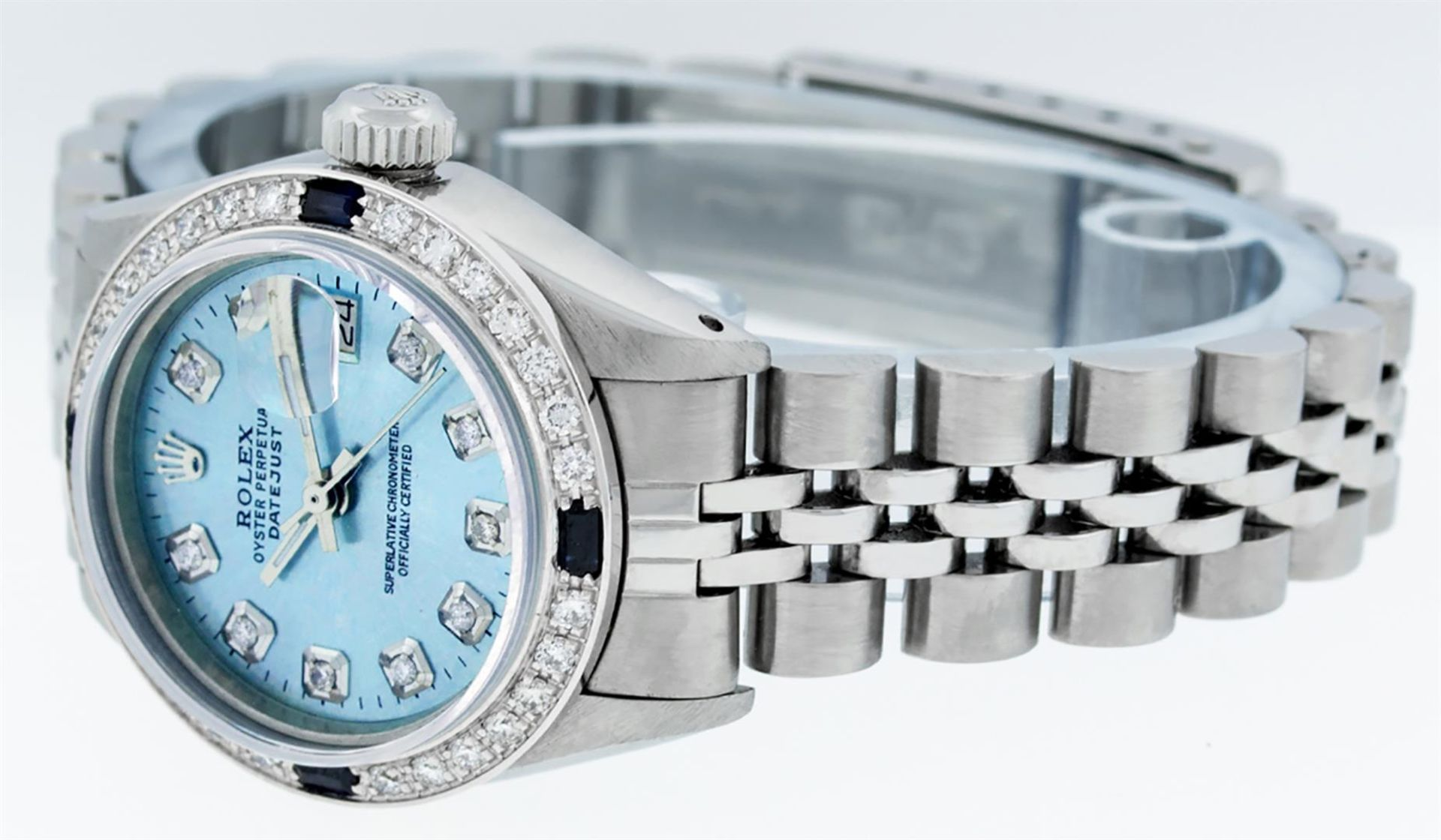 Rolex Ladies Stainless Steel Sky Blue Diamond & Sapphire Datejust Wristwatch - Image 3 of 9