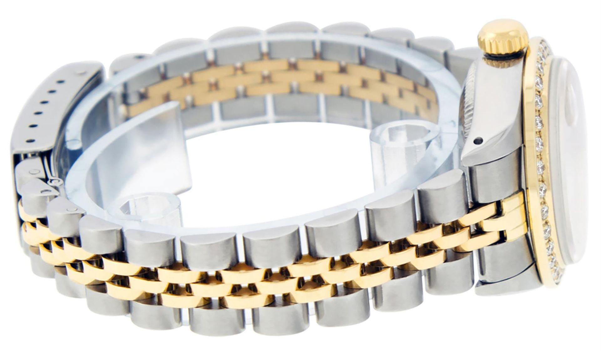Rolex Ladies 2 Tone Pink MOP Ruby String Diamond Datejust Wristwatch - Image 9 of 9