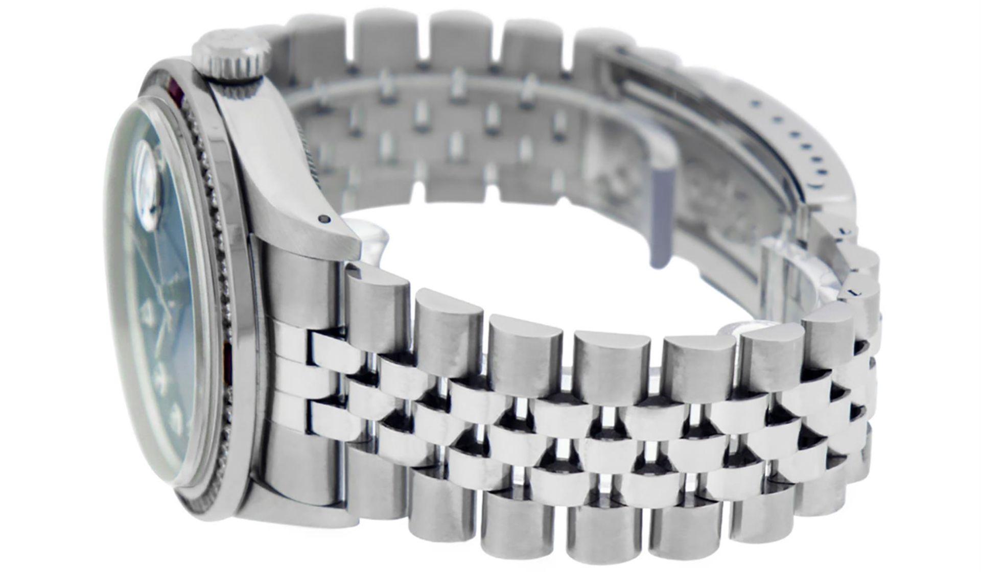 Rolex Mens SS Blue Vignette Diamond & Ruby Channel Set Diamond Datejust - Image 9 of 9