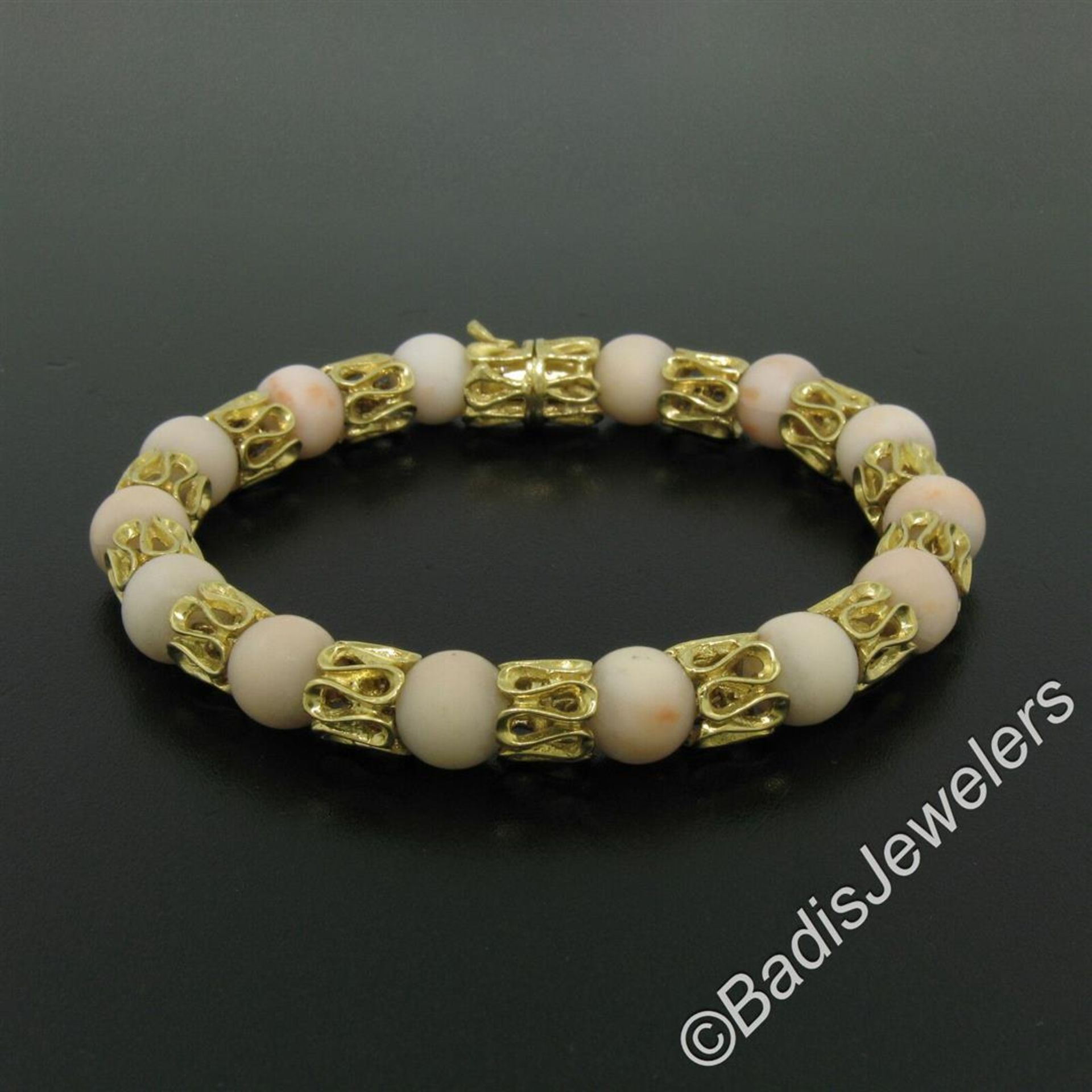 Vintage 18kt Yellow Gold Twisted Link Bracelet w/ Matching Angel Skin Coral Bead - Image 2 of 6