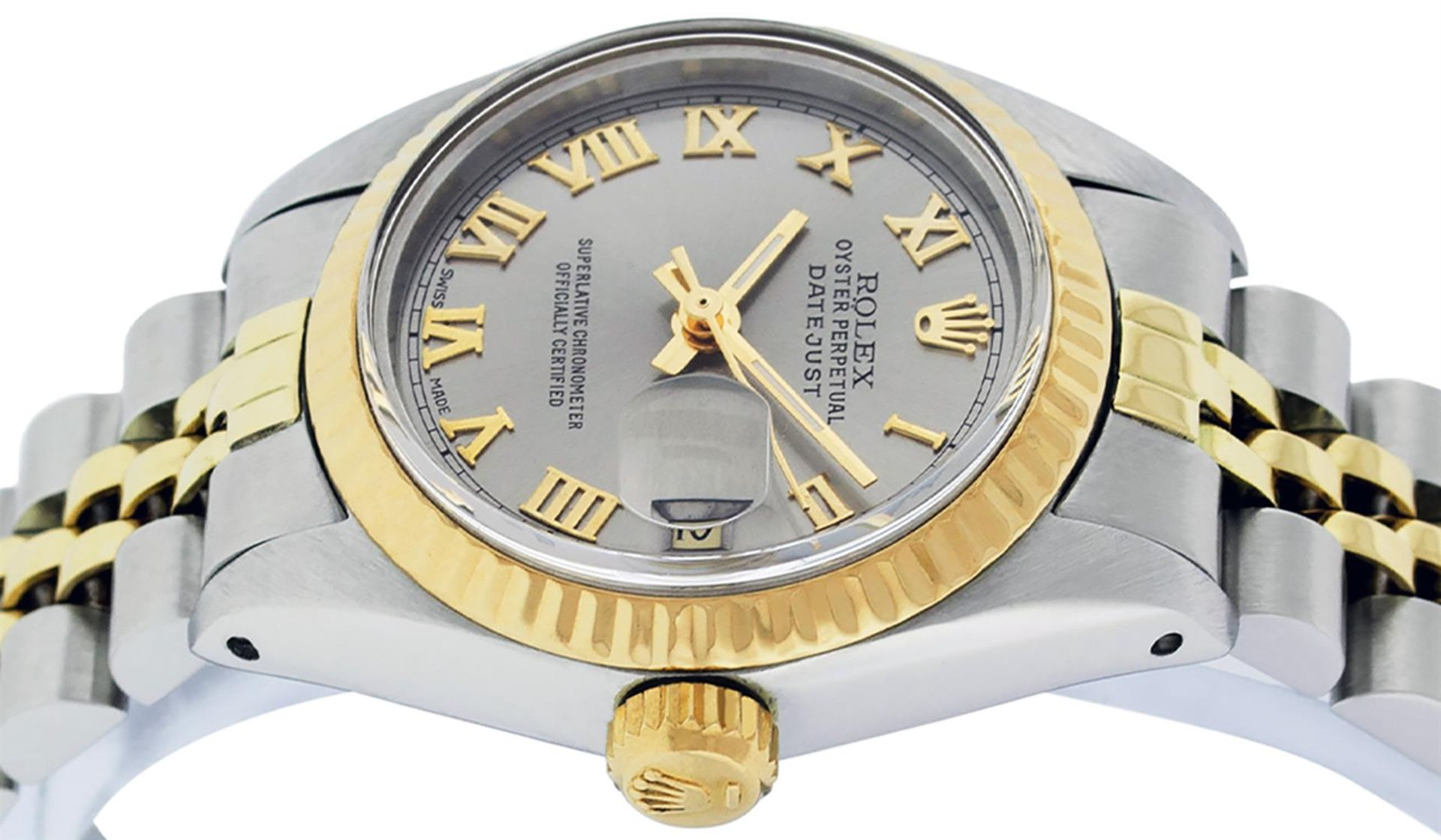 Rolex Ladies 2 Tone Yellow Gold & Stainless Steel Slate Grey Roman Datejust Wris - Image 8 of 9