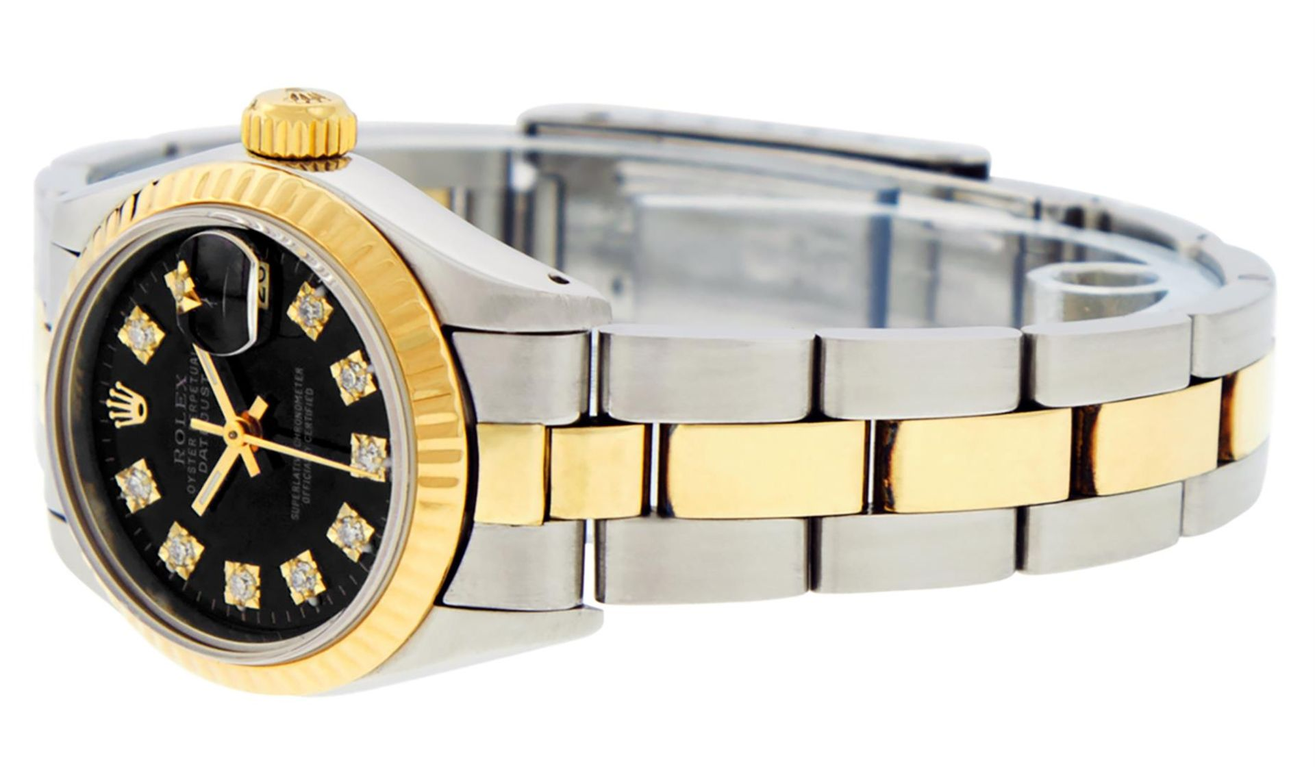 Rolex Ladies 26 Black Diamond Oyster Perpetual Datejust Polished Serviced - Image 7 of 9