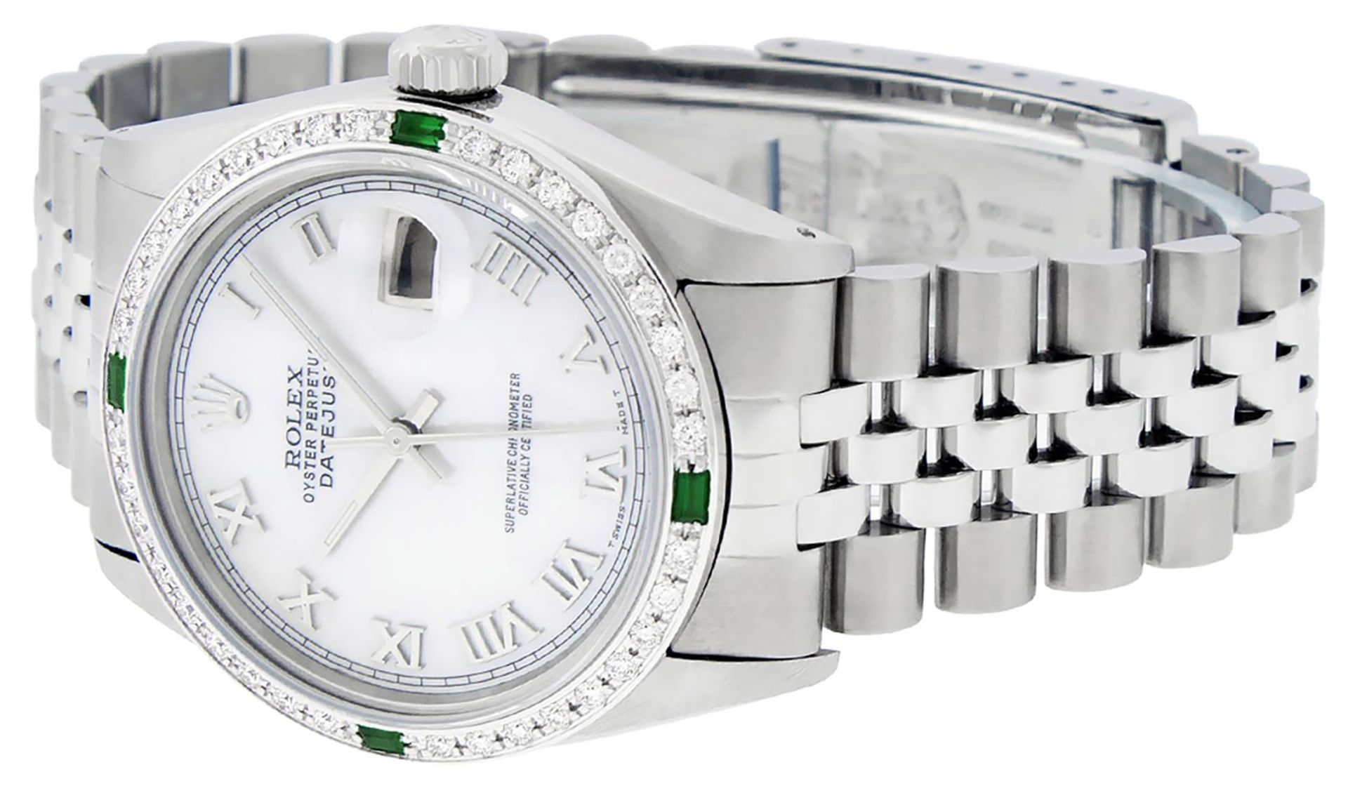 Rolex Mens Stainless Steel Silver MOP Roman 36MM Diamond & Emerald Datejust - Image 8 of 9