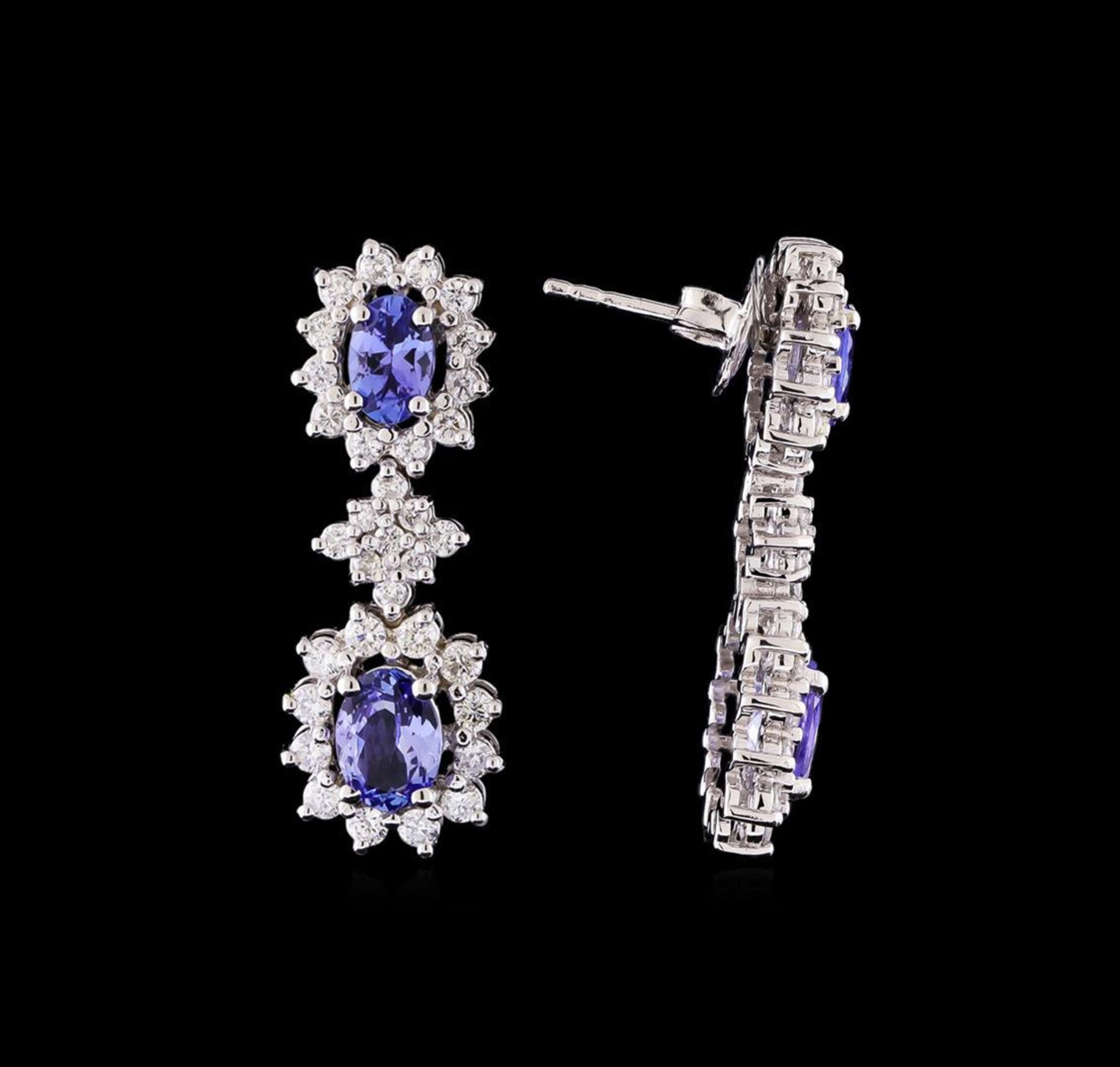 2.35 ctw Tanzanite and Diamond Earrings - 14KT White Gold - Image 2 of 4