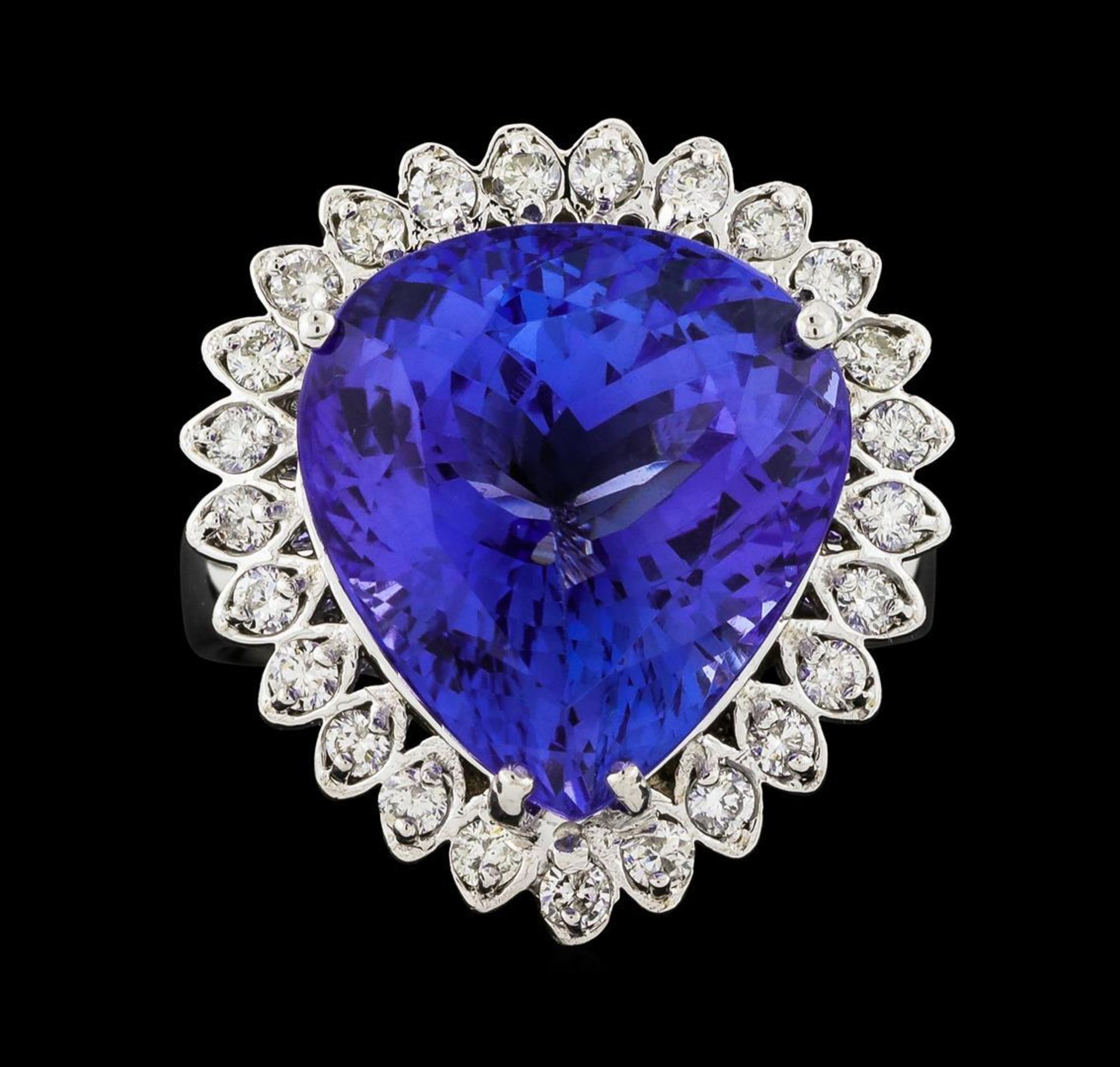 GIA Cert 13.48 ctw Tanzanite and Diamond Ring - 14KT White Gold - Image 2 of 6