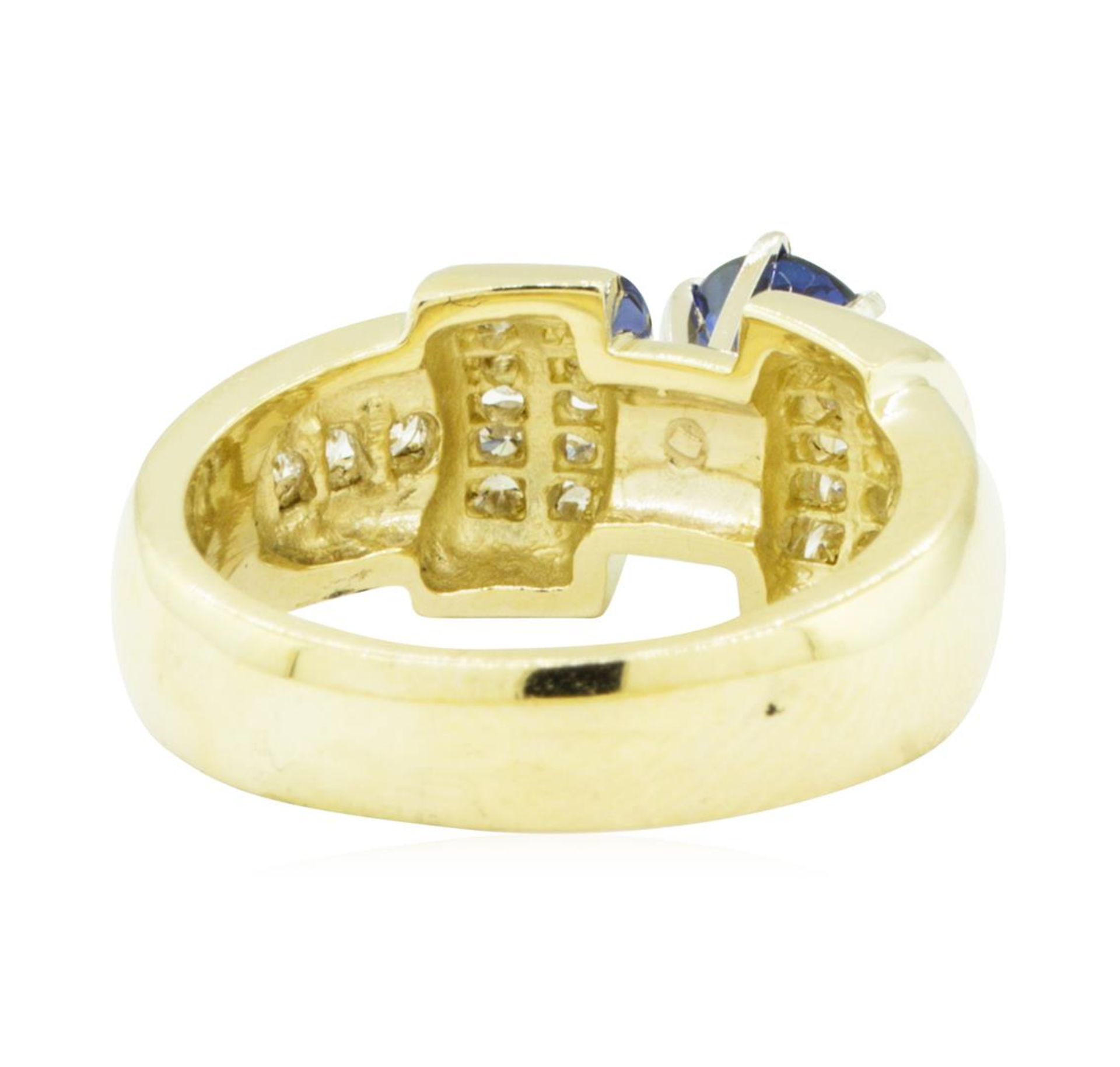 1.40 ctw Round Brilliant Blue Sapphire And Diamond Ring - 14KT Yellow Gold - Image 3 of 5