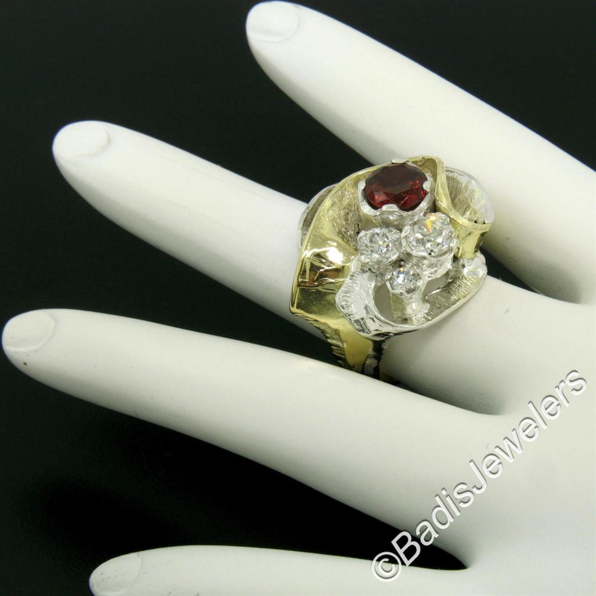 18kt Yellow Gold and Sterling Silver 2.73ctw Garnet and Diamond Cocktail Ring - Image 7 of 9