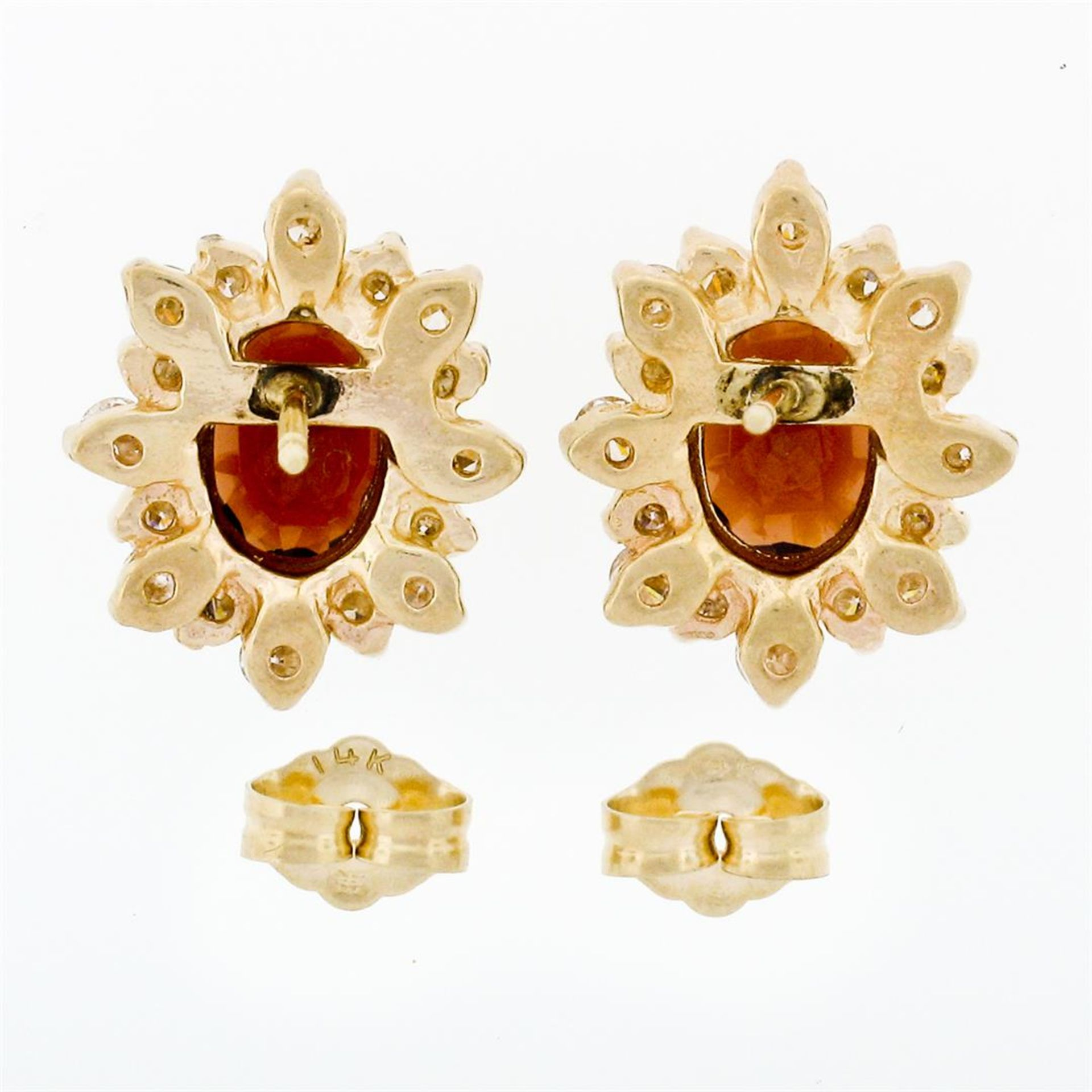 14k Yellow Gold 3.80ctw Oval Garnet & Layered Round Diamond Halo Stud Earrings - Image 5 of 5