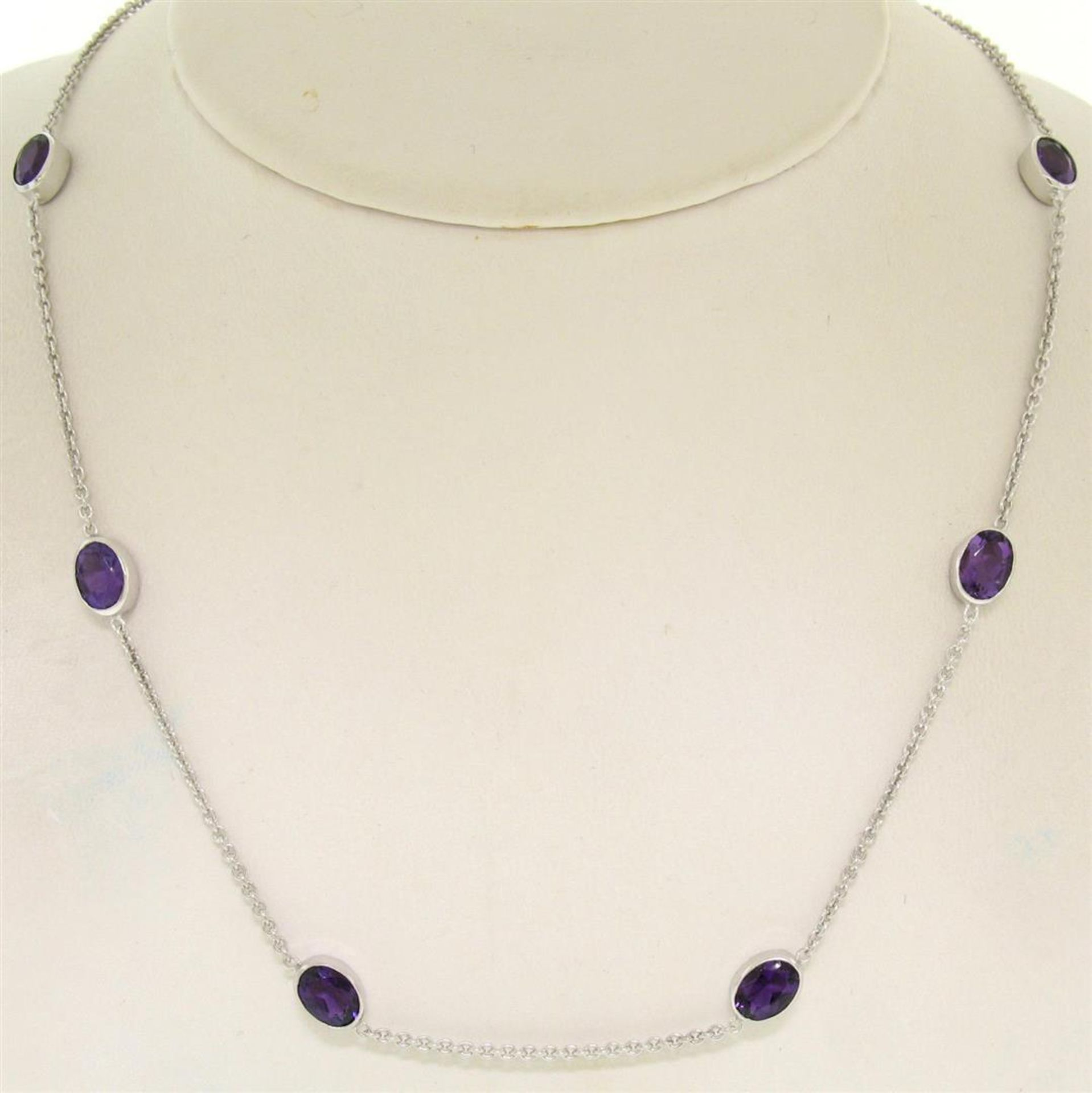 """14k White Gold 8 ctw 8 Station Amethyst by the Yard 20"""" Cable Link Chain Necklac"""