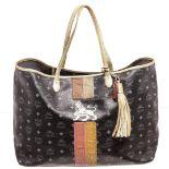 MCM Black Coated Canvas & Leather Large Lion Shopper Shoulder Bag
