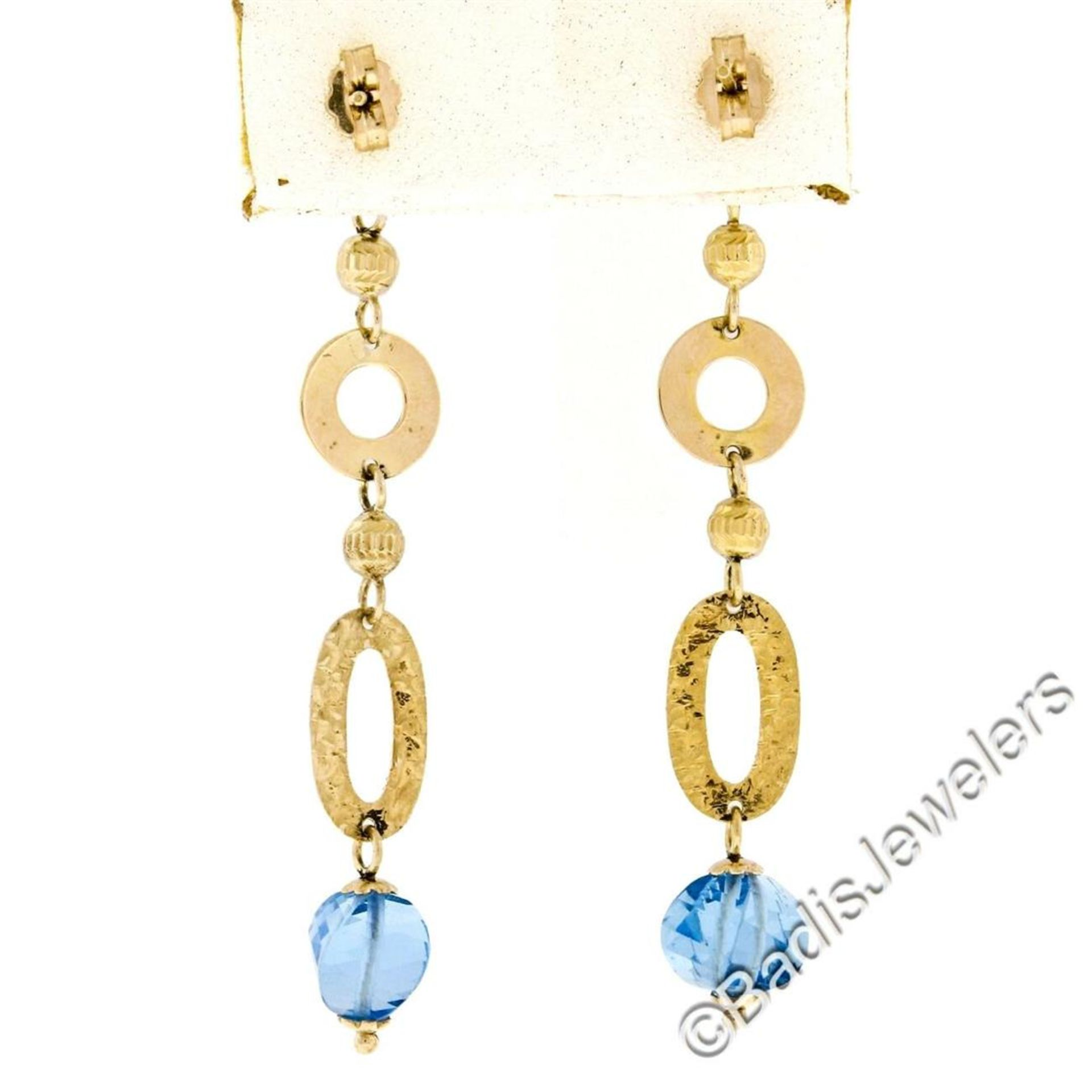 14kt Yellow Gold Briolette Cut Blue Topaz Bead Long Textured Dangle Earrings - Image 5 of 6