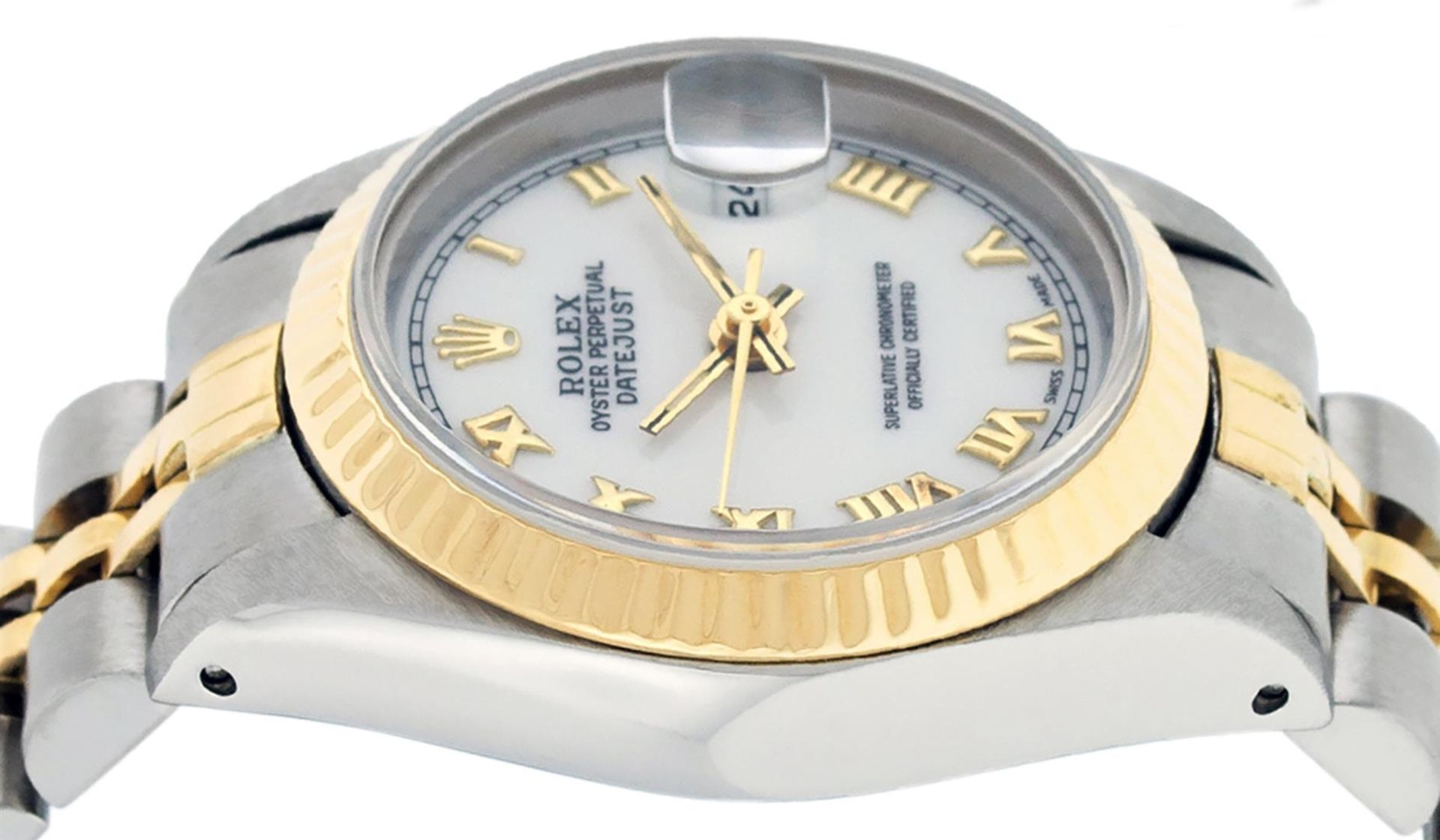 Rolex Ladies 2 Tone White Roman 26MM Datejust Wristwatch - Image 8 of 8