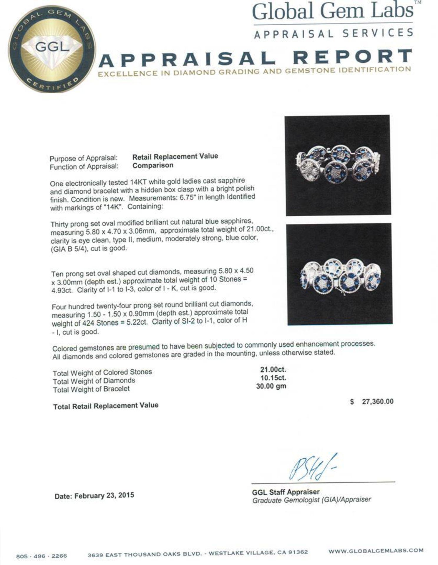 14KT White Gold 21.00 ctw Sapphire and Diamond Bracelet - Image 4 of 4