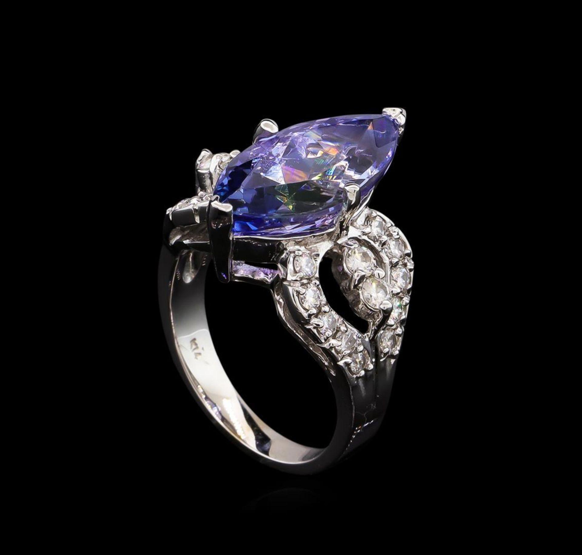 6.70 ctw Tanzanite and Diamond Ring - 14KT White Gold - Image 4 of 5