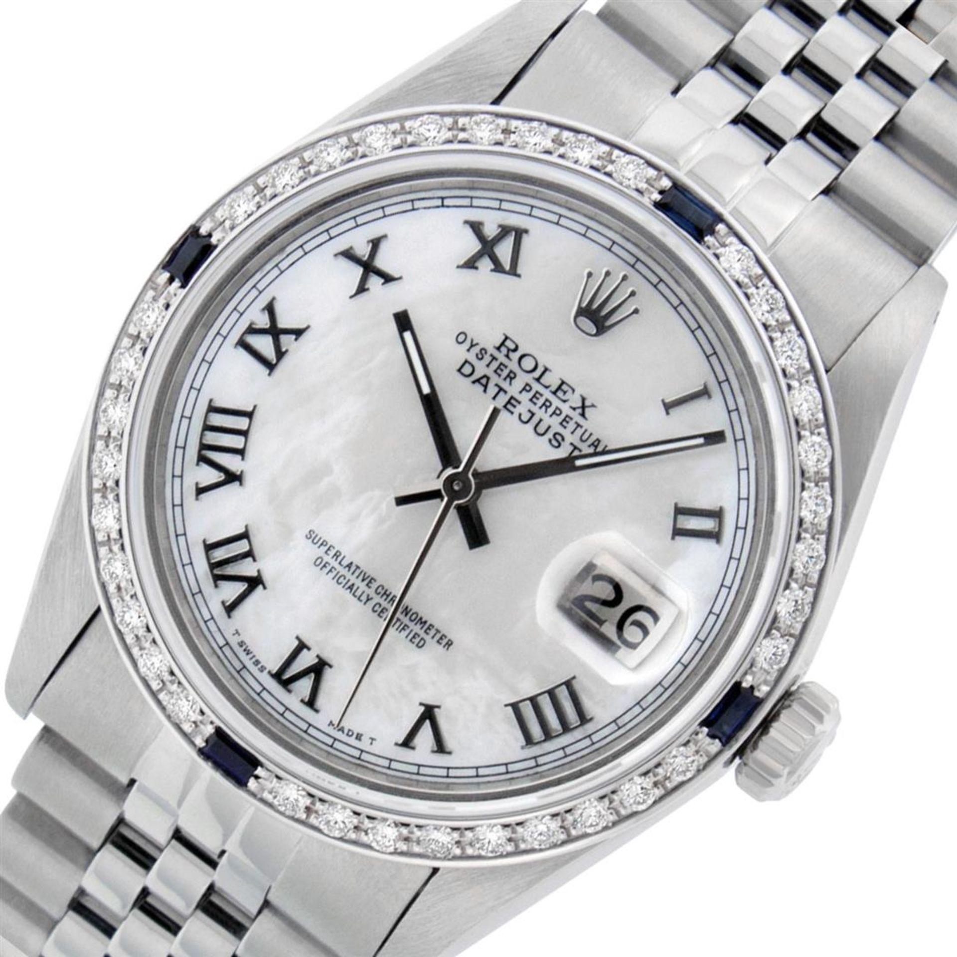 Rolex Mens Stainless Steel MOP Roman 36MM Diamond & Sapphire Datejust Wristwatch - Image 3 of 9