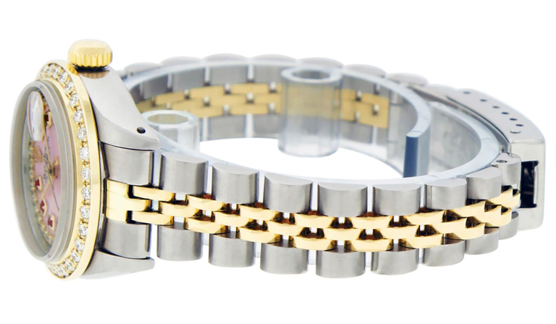 Rolex Ladies 2 Tone Pink MOP Ruby String Diamond Datejust Wristwatch - Image 6 of 9