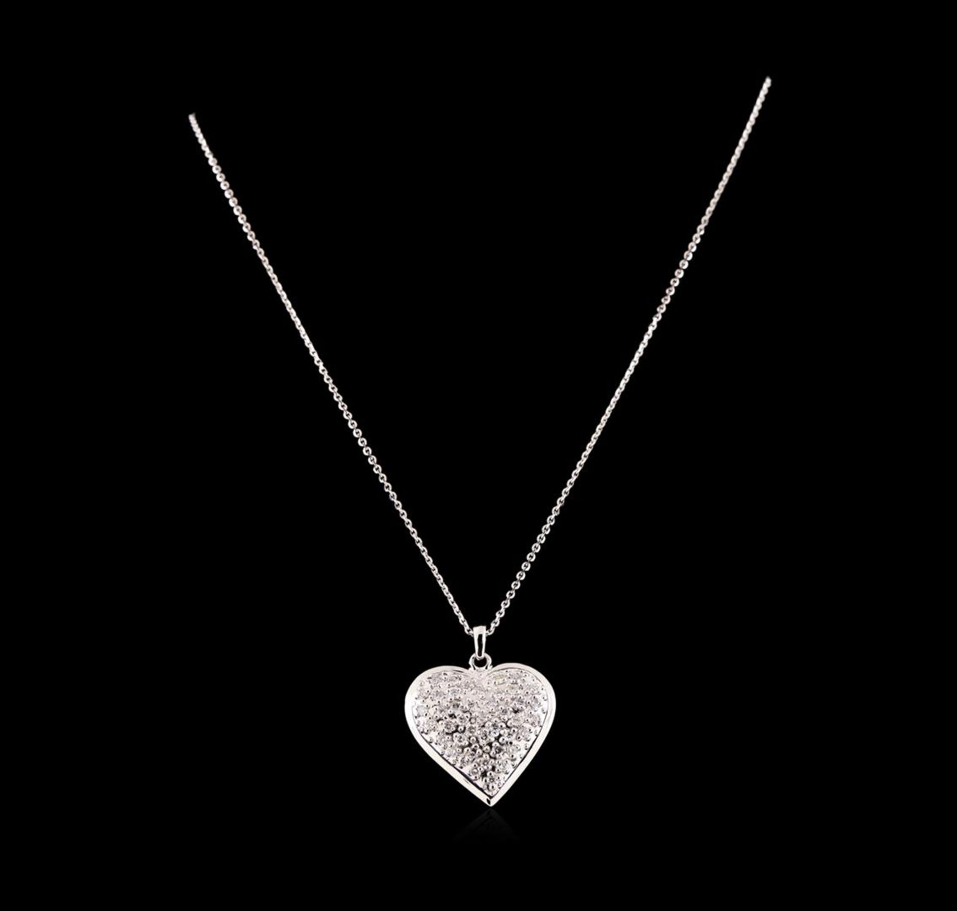14KT White Gold 1.29 ctw Diamond Heart Pendant With Chain - Image 2 of 3