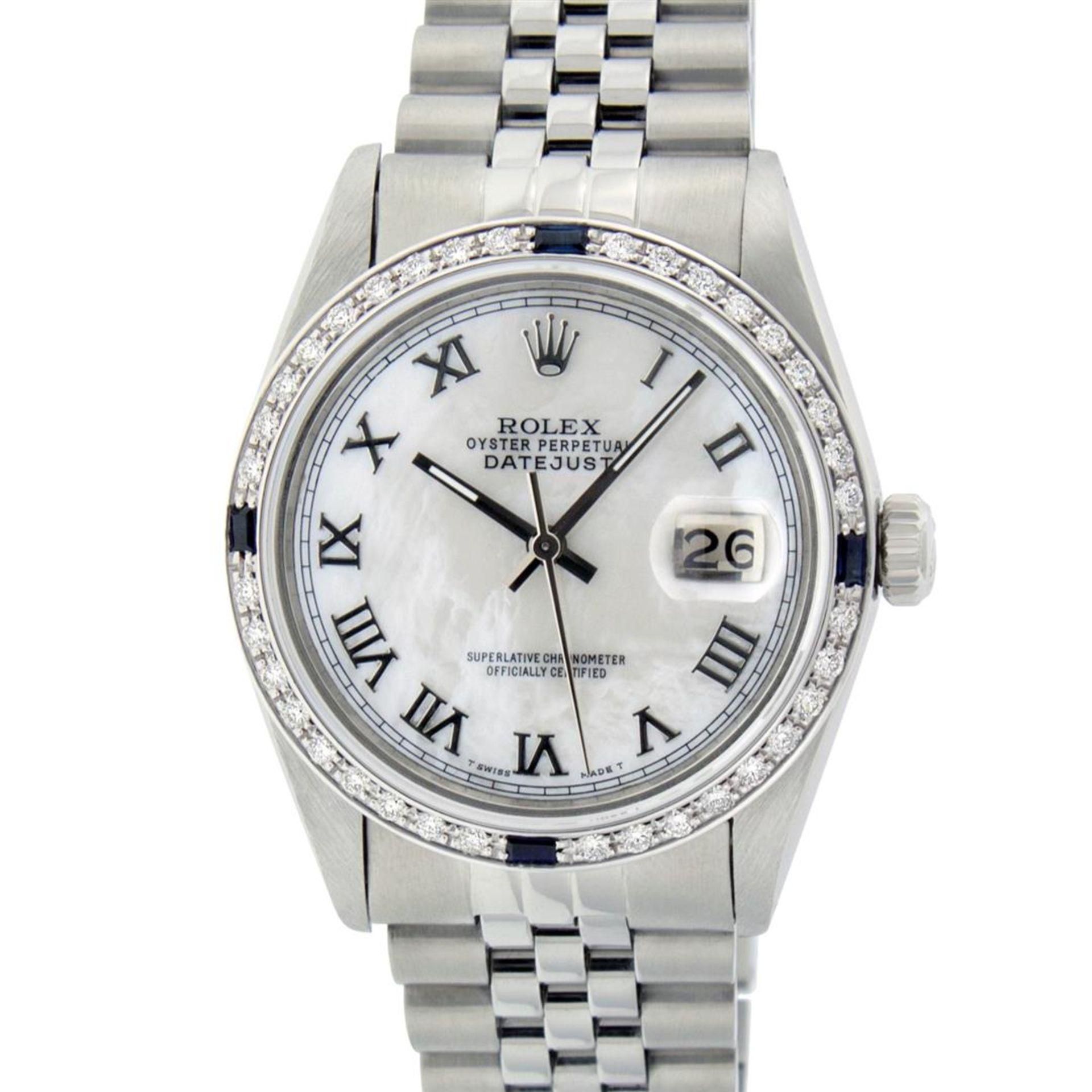 Rolex Mens Stainless Steel MOP Roman 36MM Diamond & Sapphire Datejust Wristwatch - Image 2 of 9