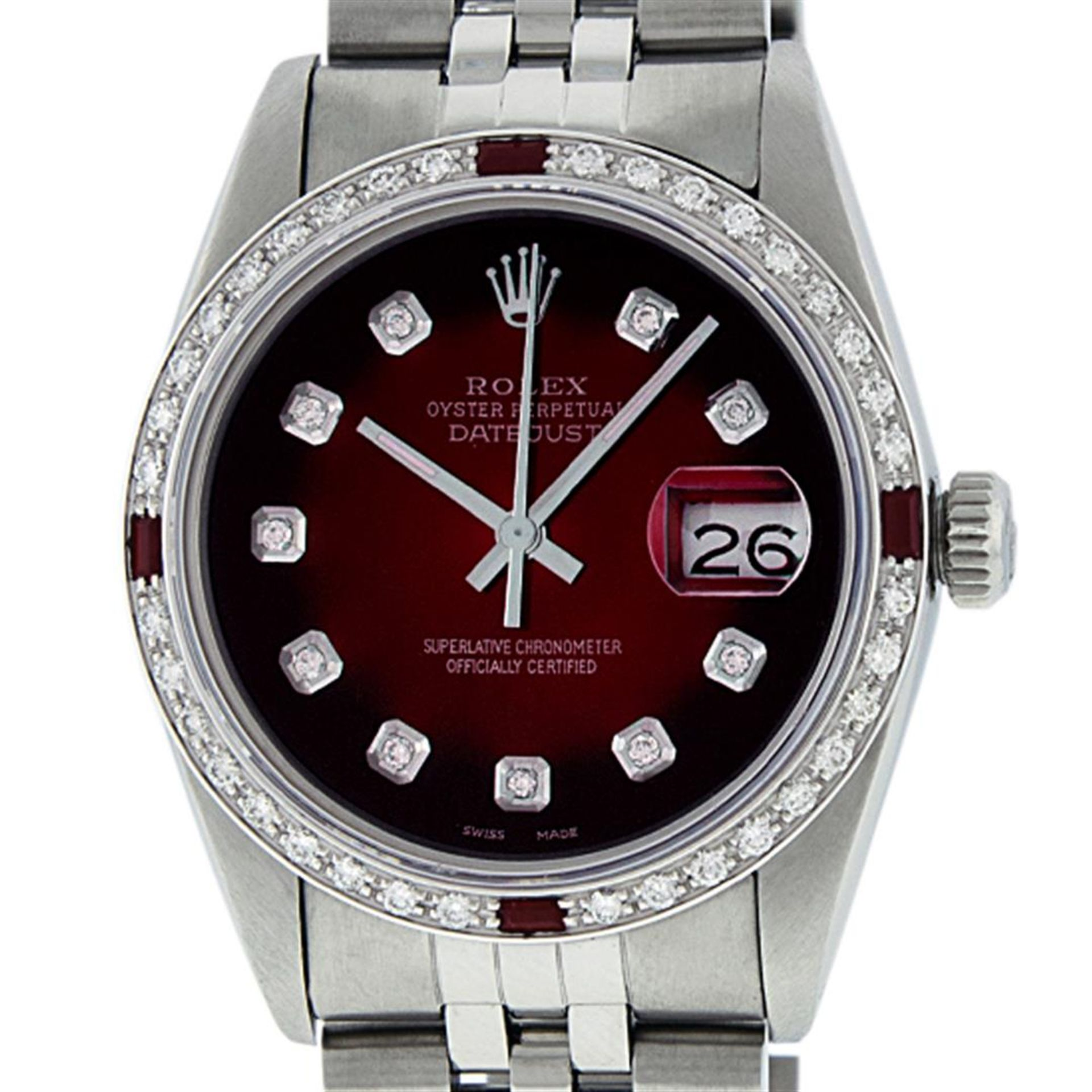 Rolex Mens Stainless Steel Red Vignette Diamond & Ruby Datejust Wristwatch - Image 2 of 9
