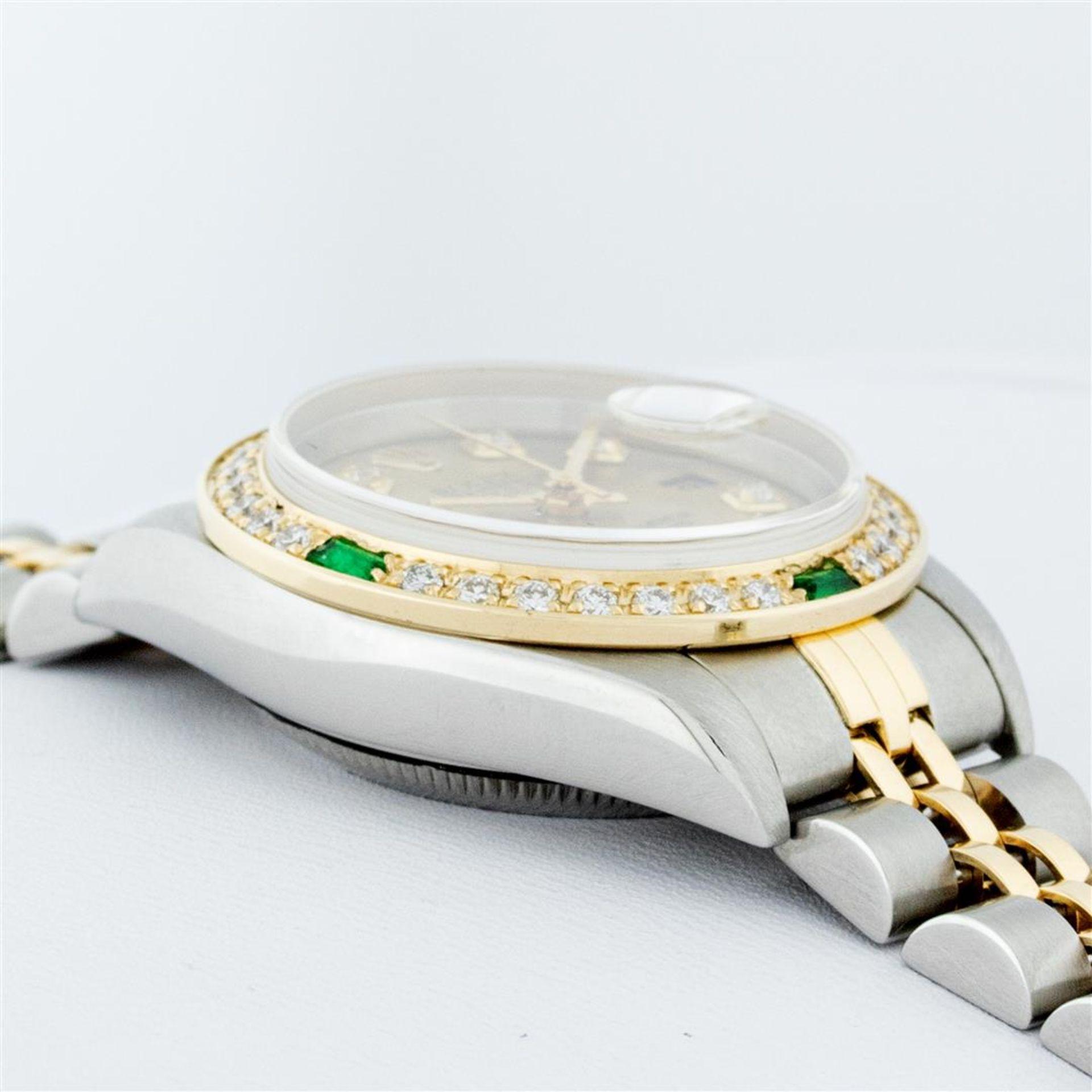 Rolex Ladies 2 Tone 18K Quickset Champagne Diamond & Emerald Datejust Wristwatch - Image 8 of 9
