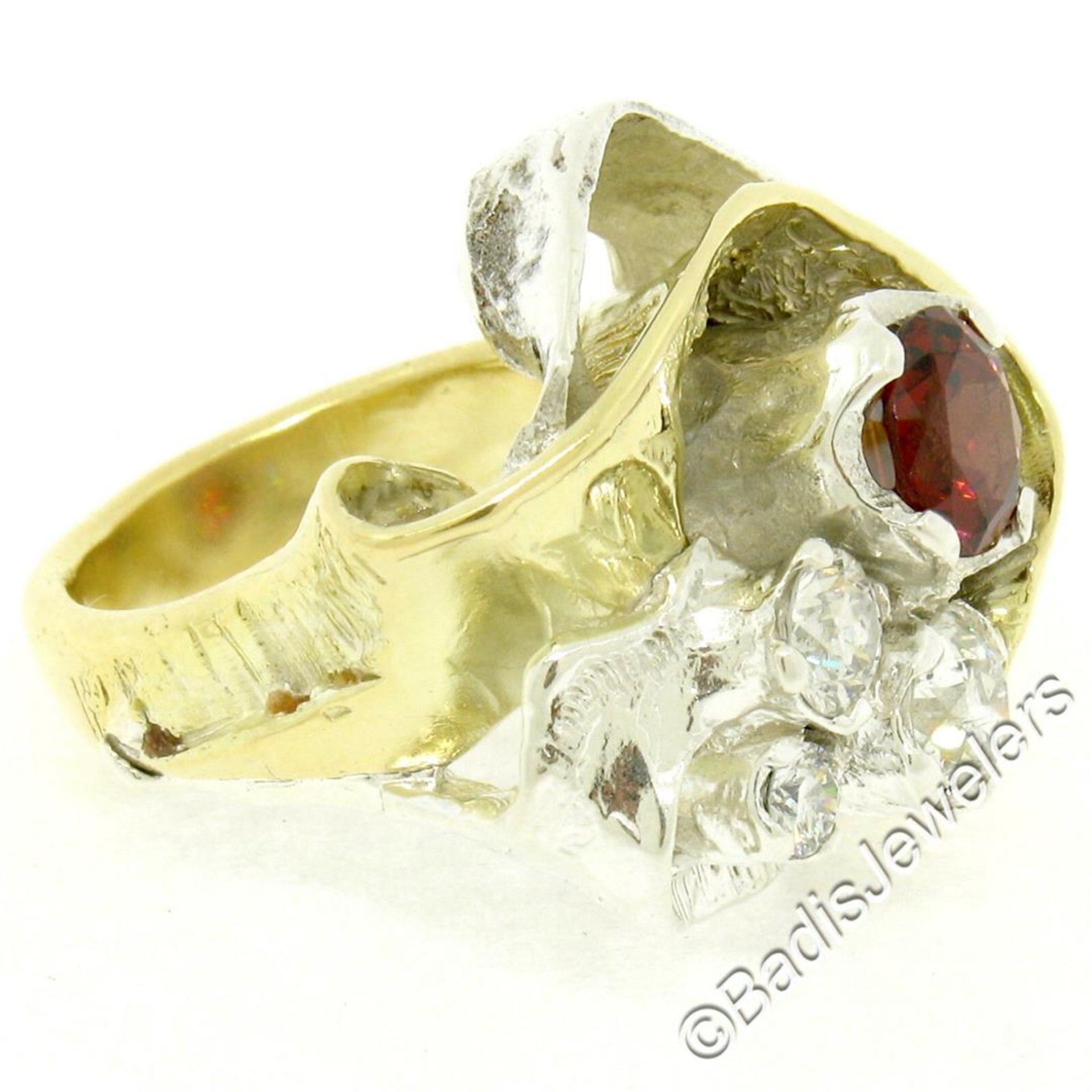 18kt Yellow Gold and Sterling Silver 2.73ctw Garnet and Diamond Cocktail Ring - Image 5 of 9