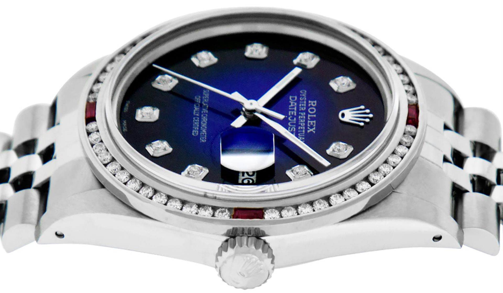Rolex Mens SS Blue Vignette Diamond & Ruby Channel Set Diamond Datejust - Image 2 of 9