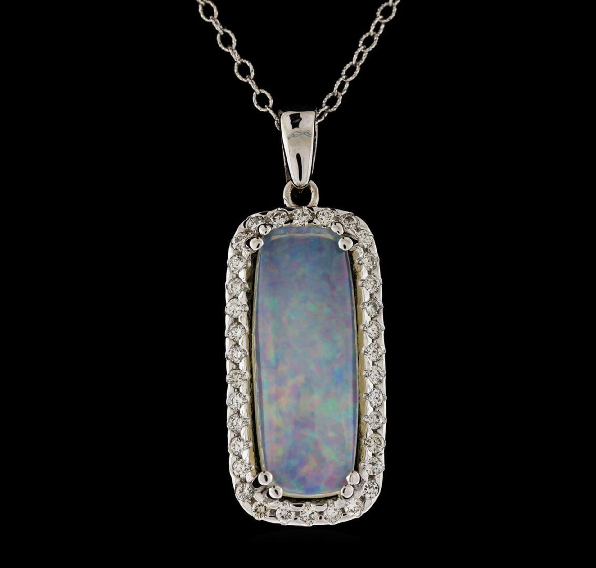 8.67 ctw Opal and Diamond Pendant With Chain - 14KT White Gold - Image 2 of 3