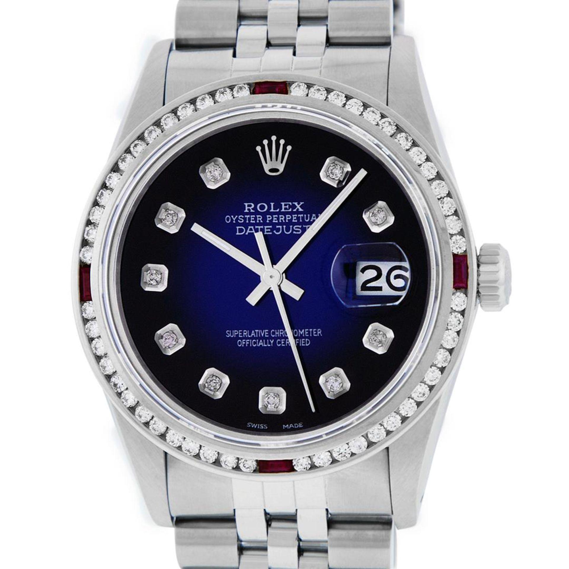 Rolex Mens SS Blue Vignette Diamond & Ruby Channel Set Diamond Datejust