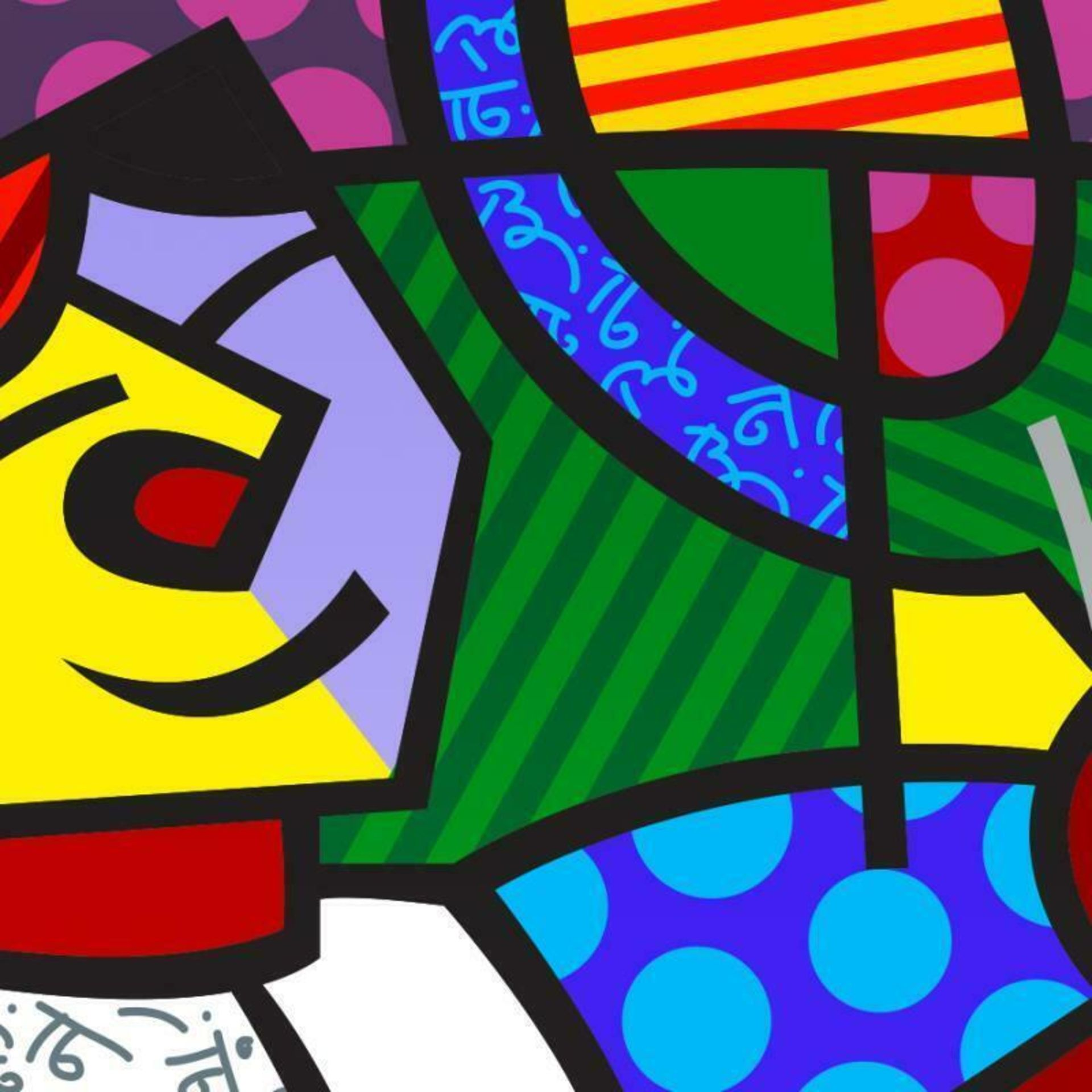 """Romero Britto """"Tennis Match"""" Hand Signed Giclee on Canvas; Authenticated - Image 2 of 2"""