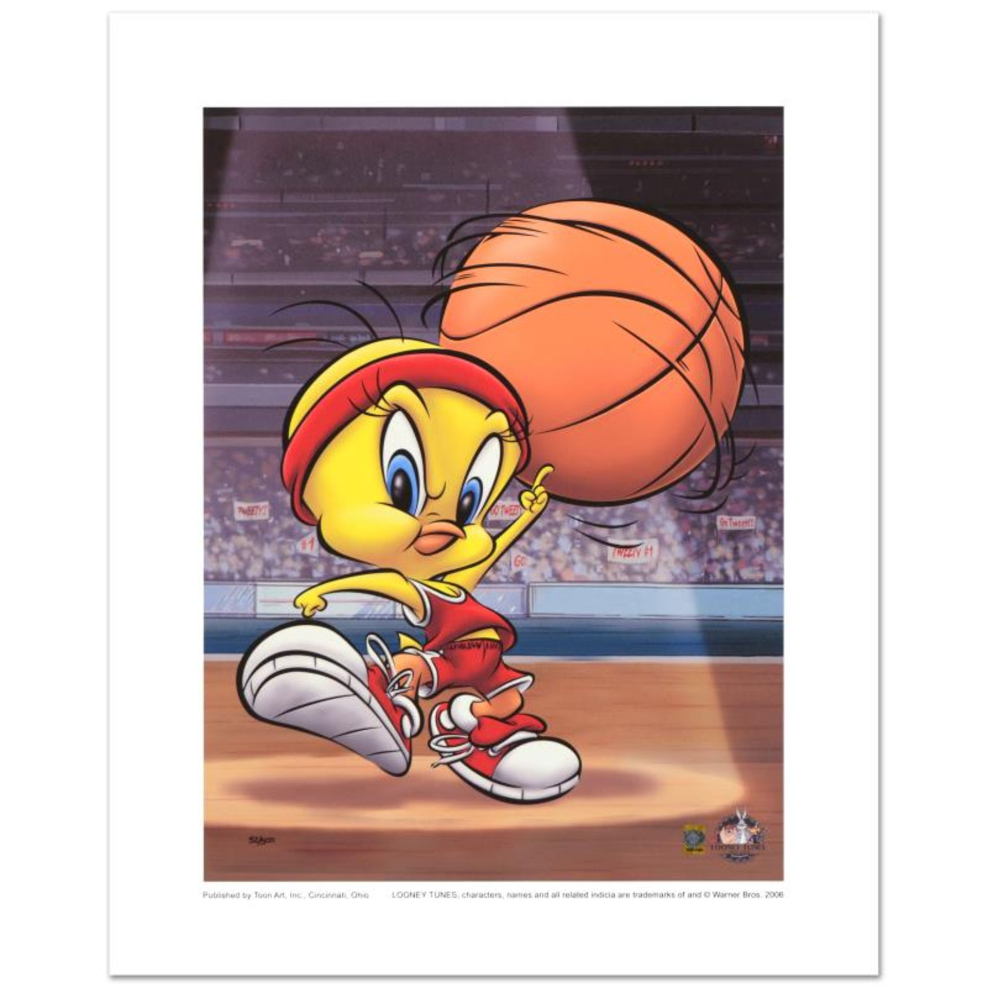 """Roundball Tweety"" Limited Edition Giclee from Warner Bros., Numbered with Holog"