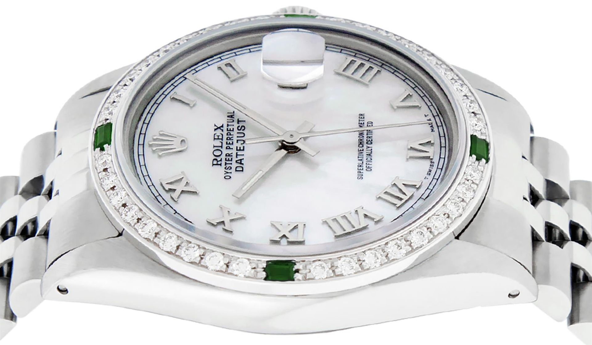 Rolex Mens Stainless Steel Silver MOP Roman 36MM Diamond & Emerald Datejust - Image 9 of 9