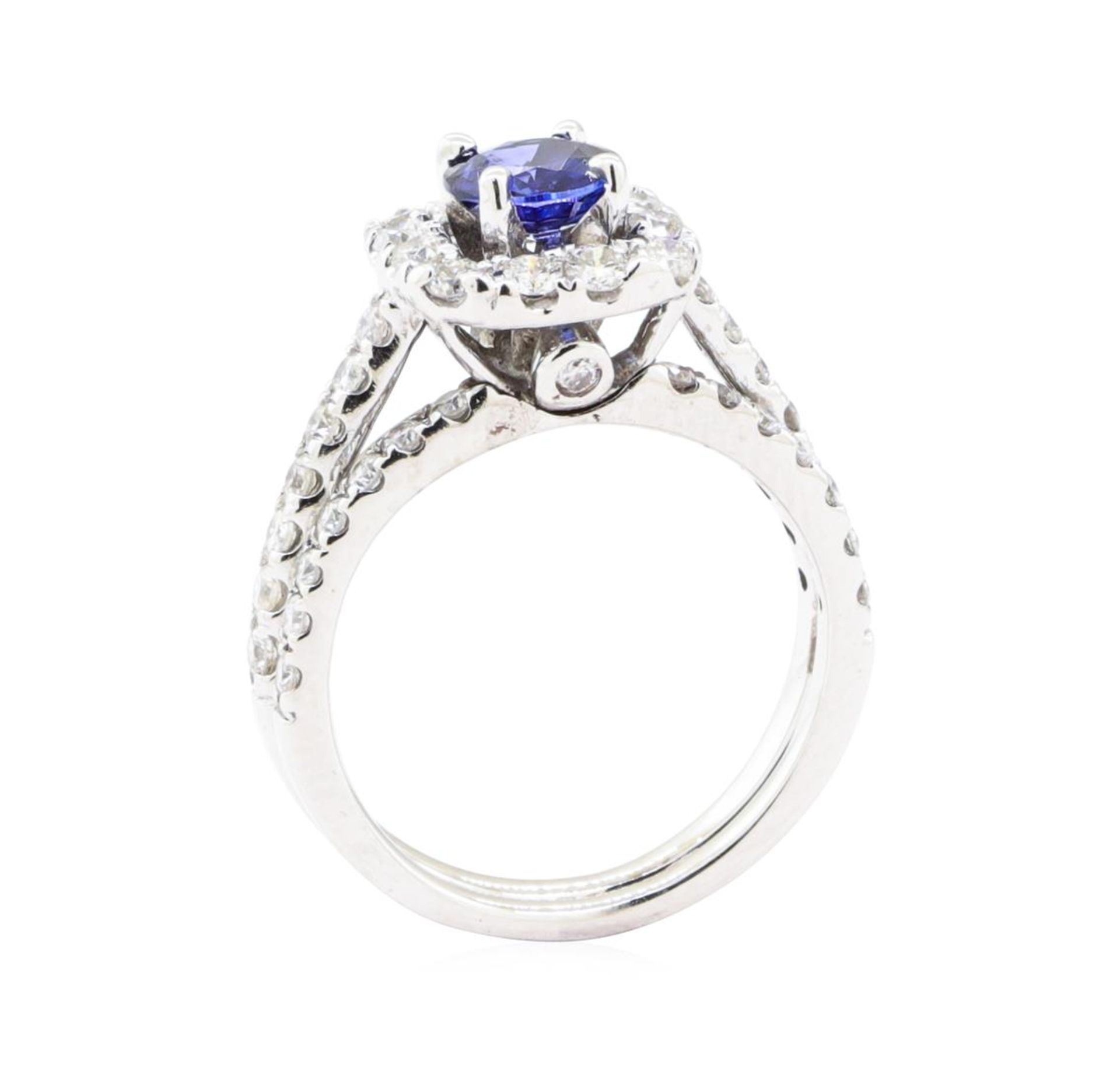 1.66 ctw Sapphire And Diamond Ring And Attached Band - 14KT White Gold - Image 4 of 5