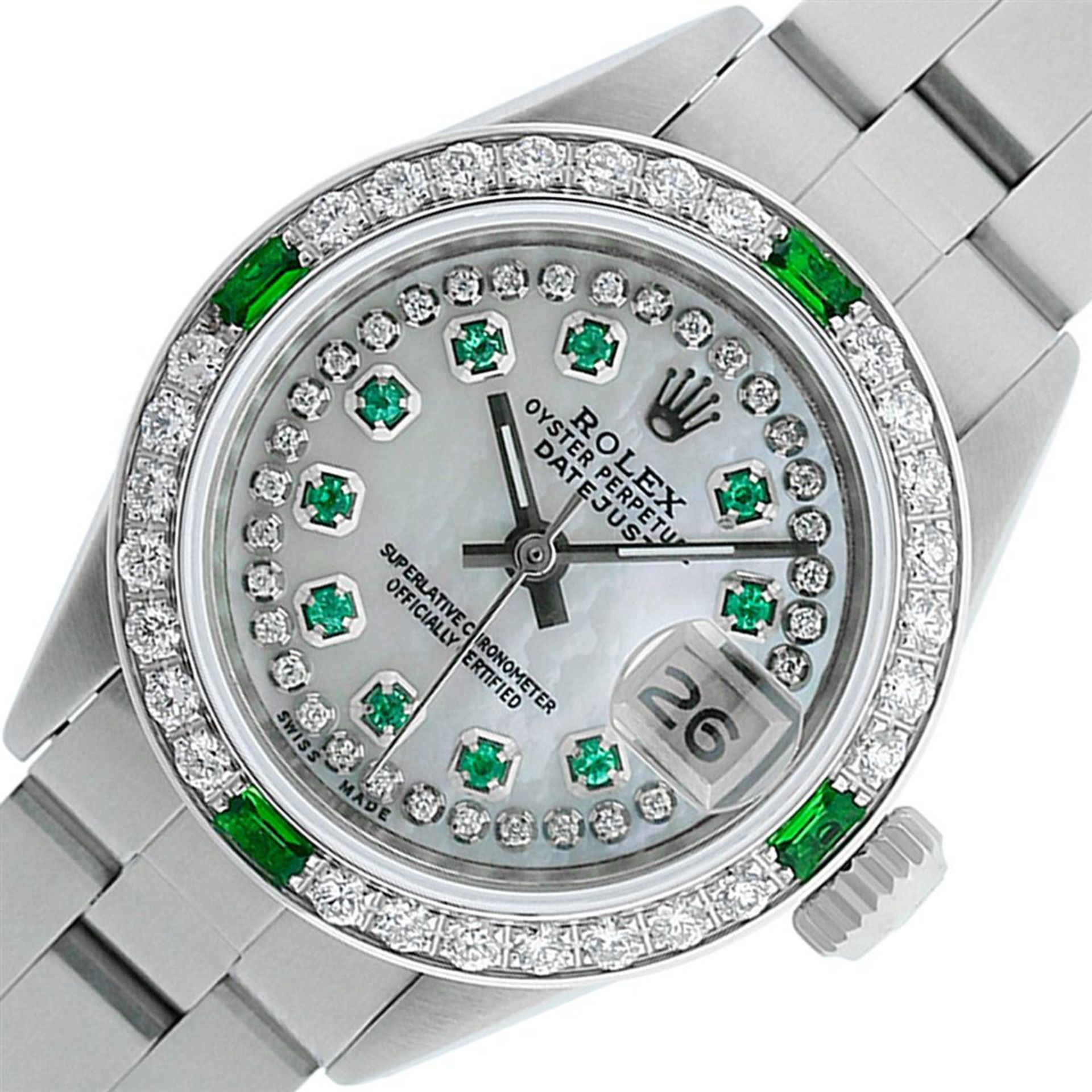 Rolex Ladies Stainless Steel MOP Emerald & Diamond Oyster Perpetaul Datejust Wri