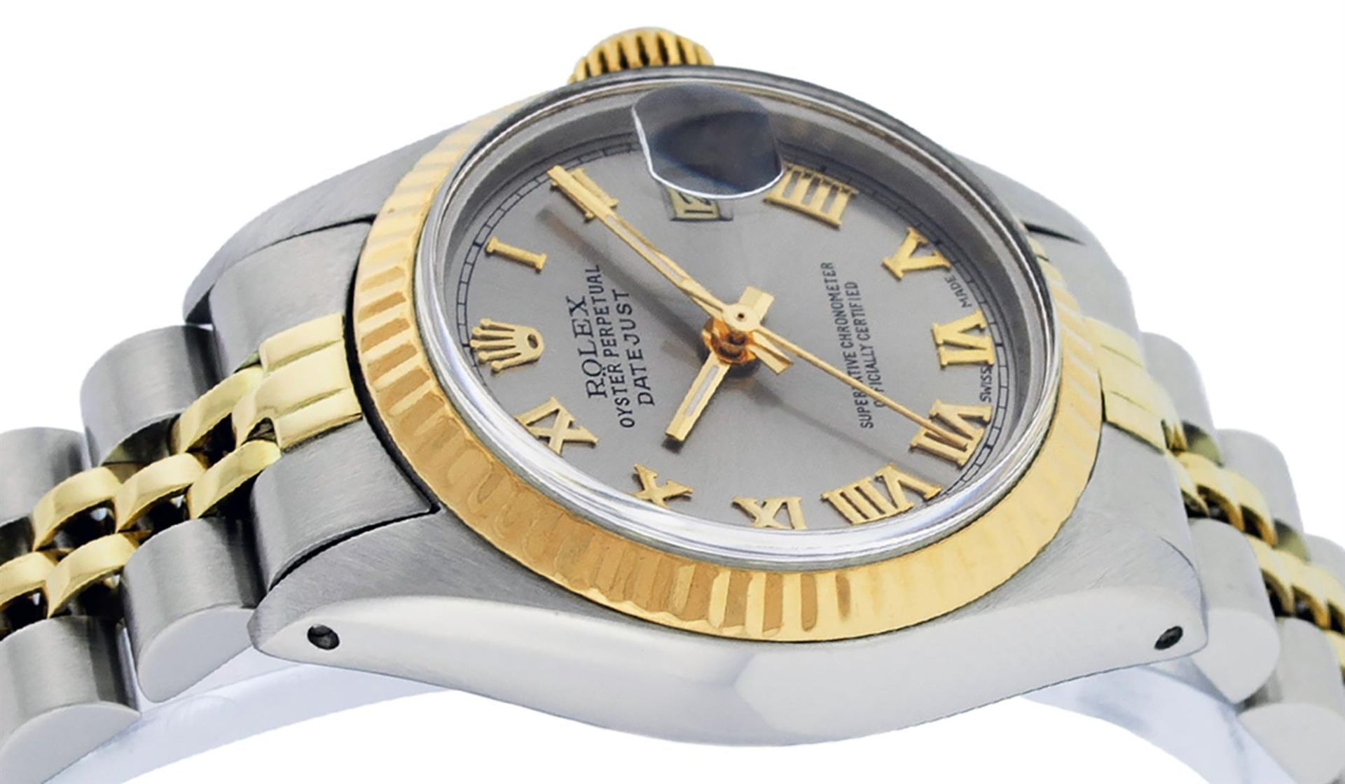 Rolex Ladies 2 Tone Yellow Gold & Stainless Steel Slate Grey Roman Datejust Wris - Image 9 of 9