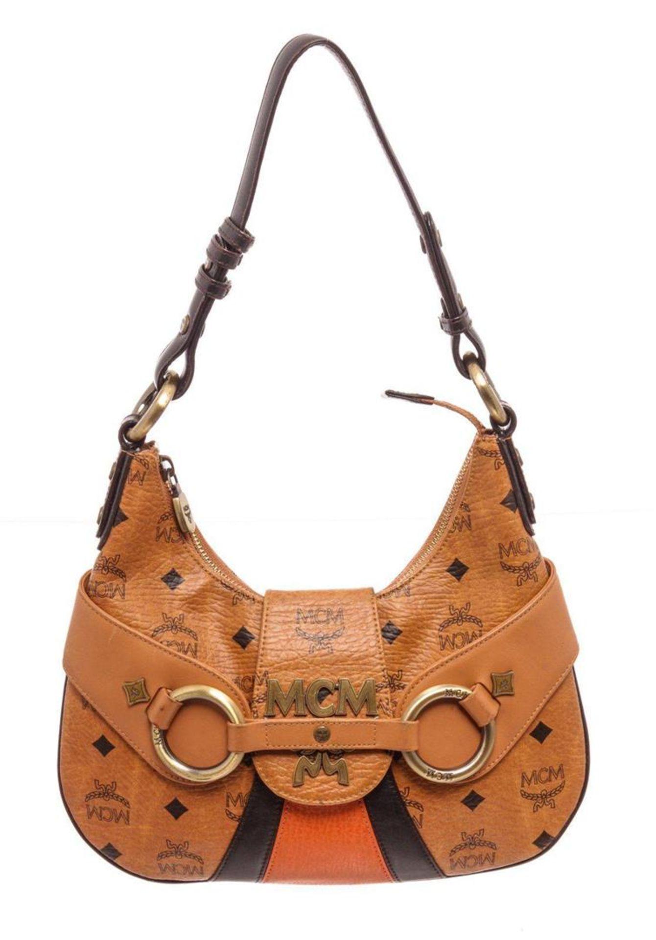 MCM Cognac Visetos Coated Canvas & Leather Satchel Bag