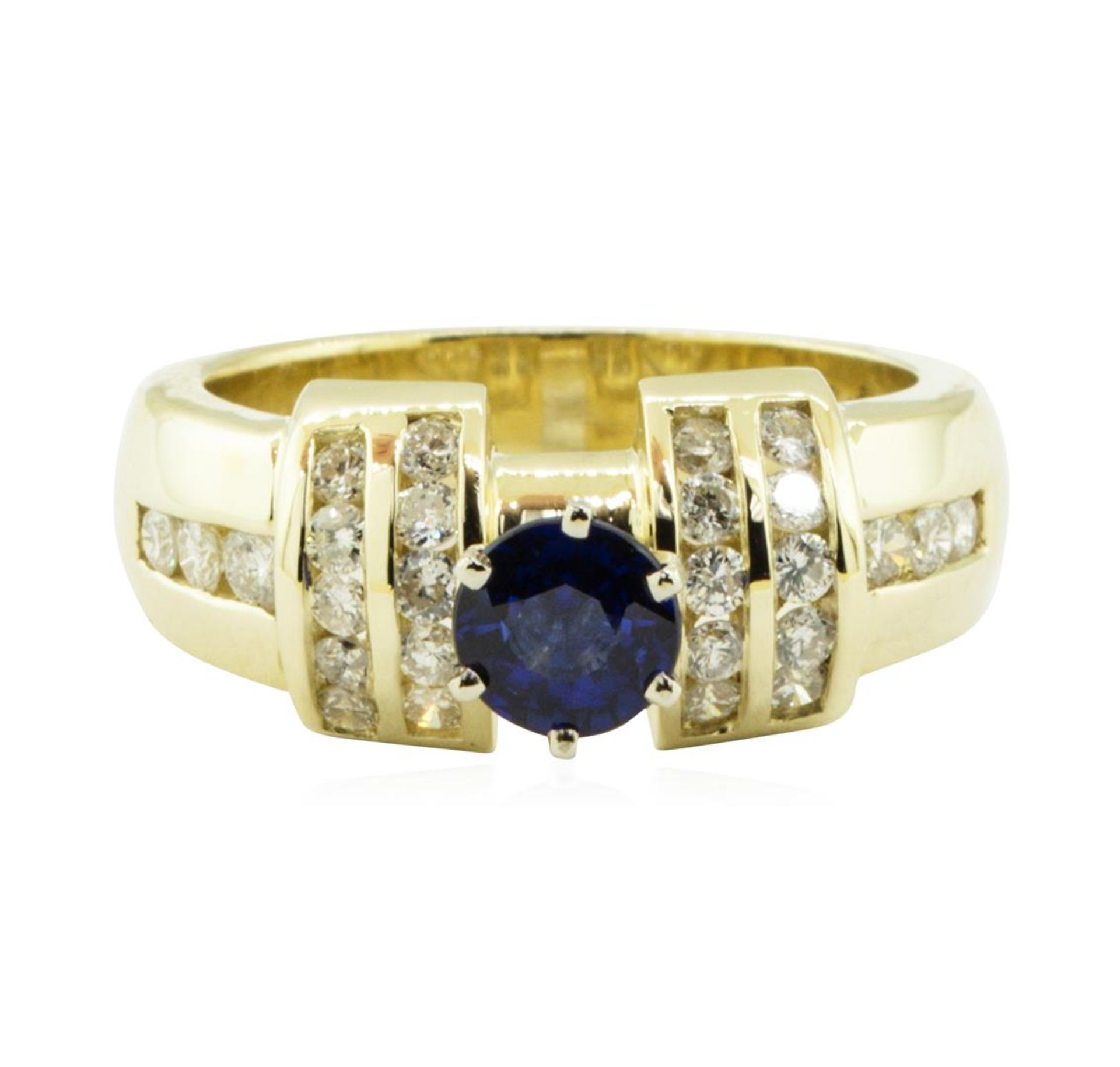 1.40 ctw Round Brilliant Blue Sapphire And Diamond Ring - 14KT Yellow Gold - Image 2 of 5